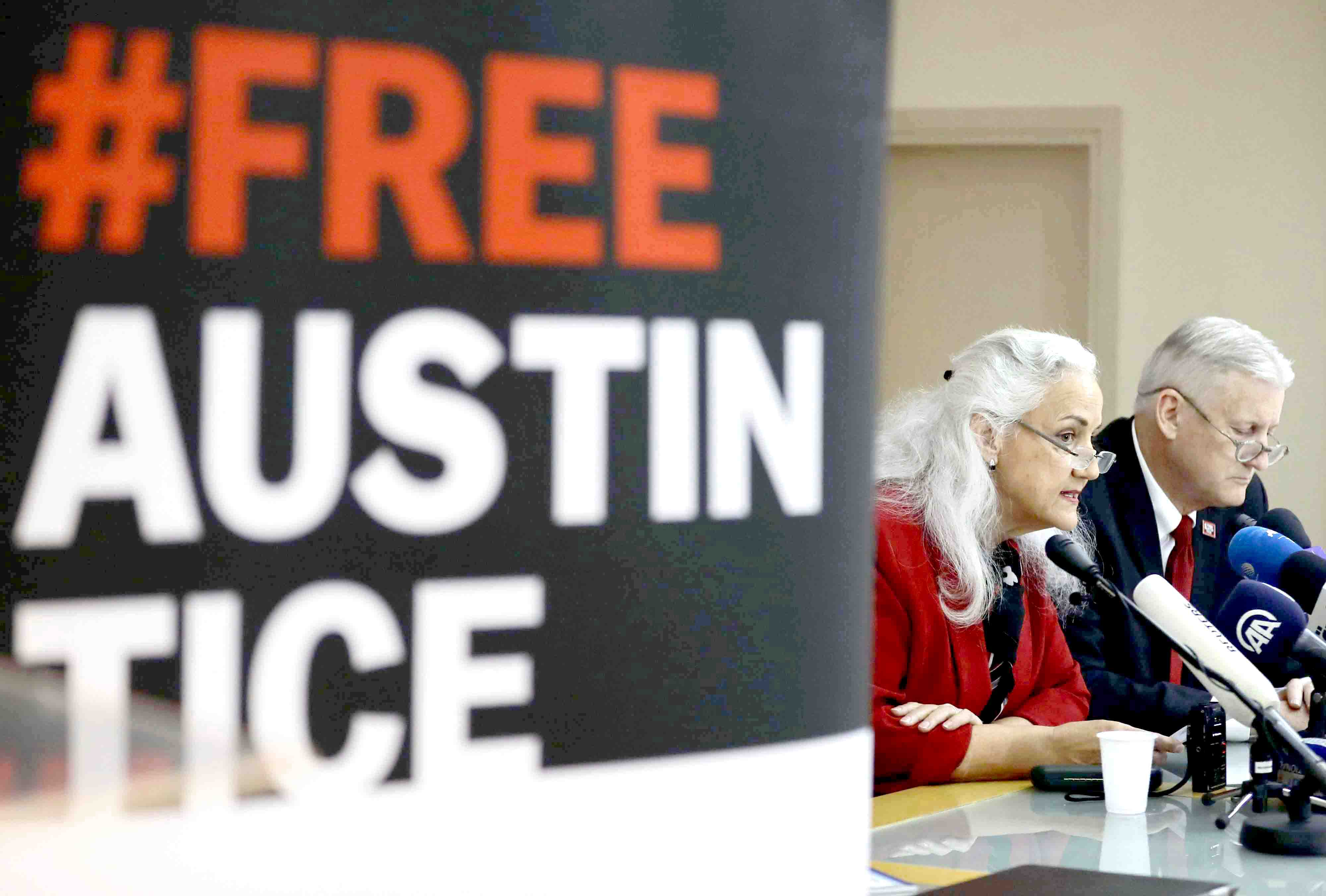 A 2018 file photo shows Marc and Debra Tice, parents of US journalist Austin Tice, who was abducted in Syria in August 2012, giving a news conference in Beirut. (AFP)