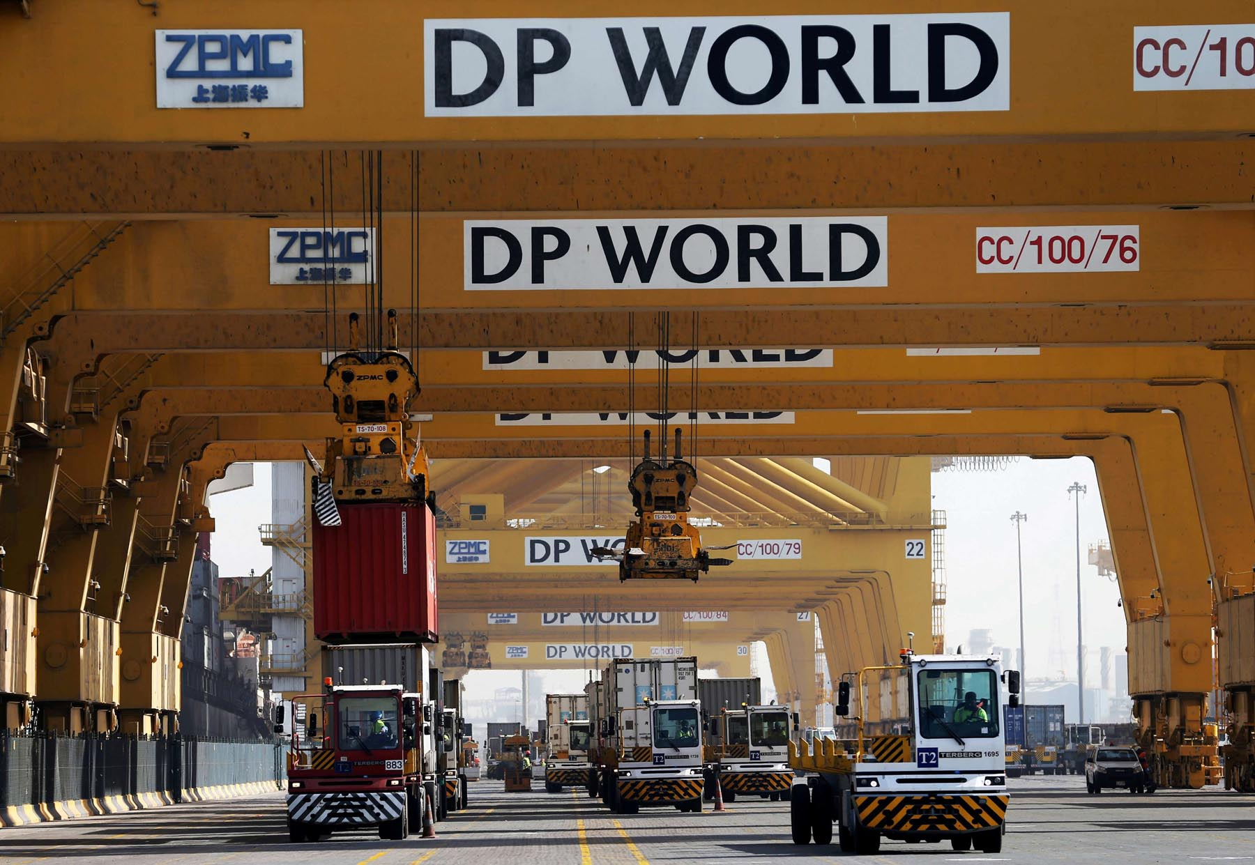 Terminal tractors line up at DP World's Terminal 2 at Jebel Ali Port in Dubai. (Reuters)