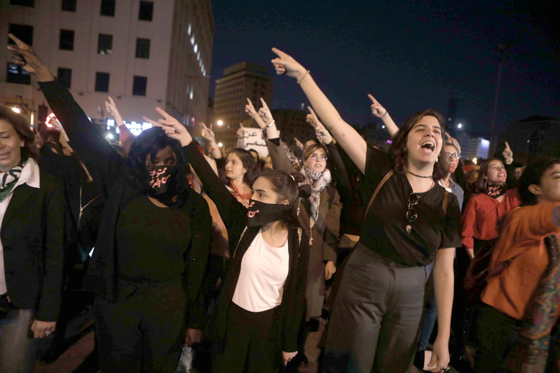 Women's rights activists during an anti-government protest in Beirut. (AFP)