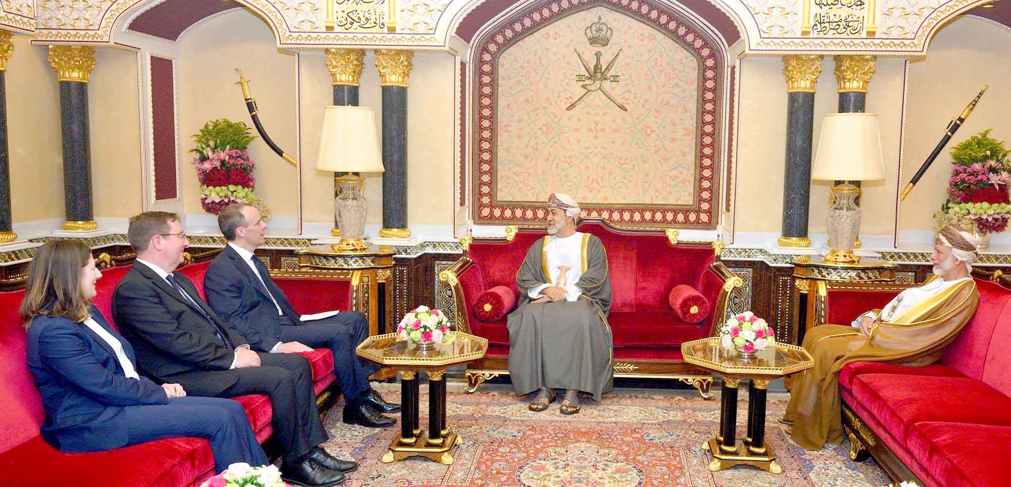 Omani Sultan Haitham bin Tariq Al Said (C) meets with British Foreign Minister Dominic Raab (3rd L) in Muscat, March 2. (British Embassy in Oman)