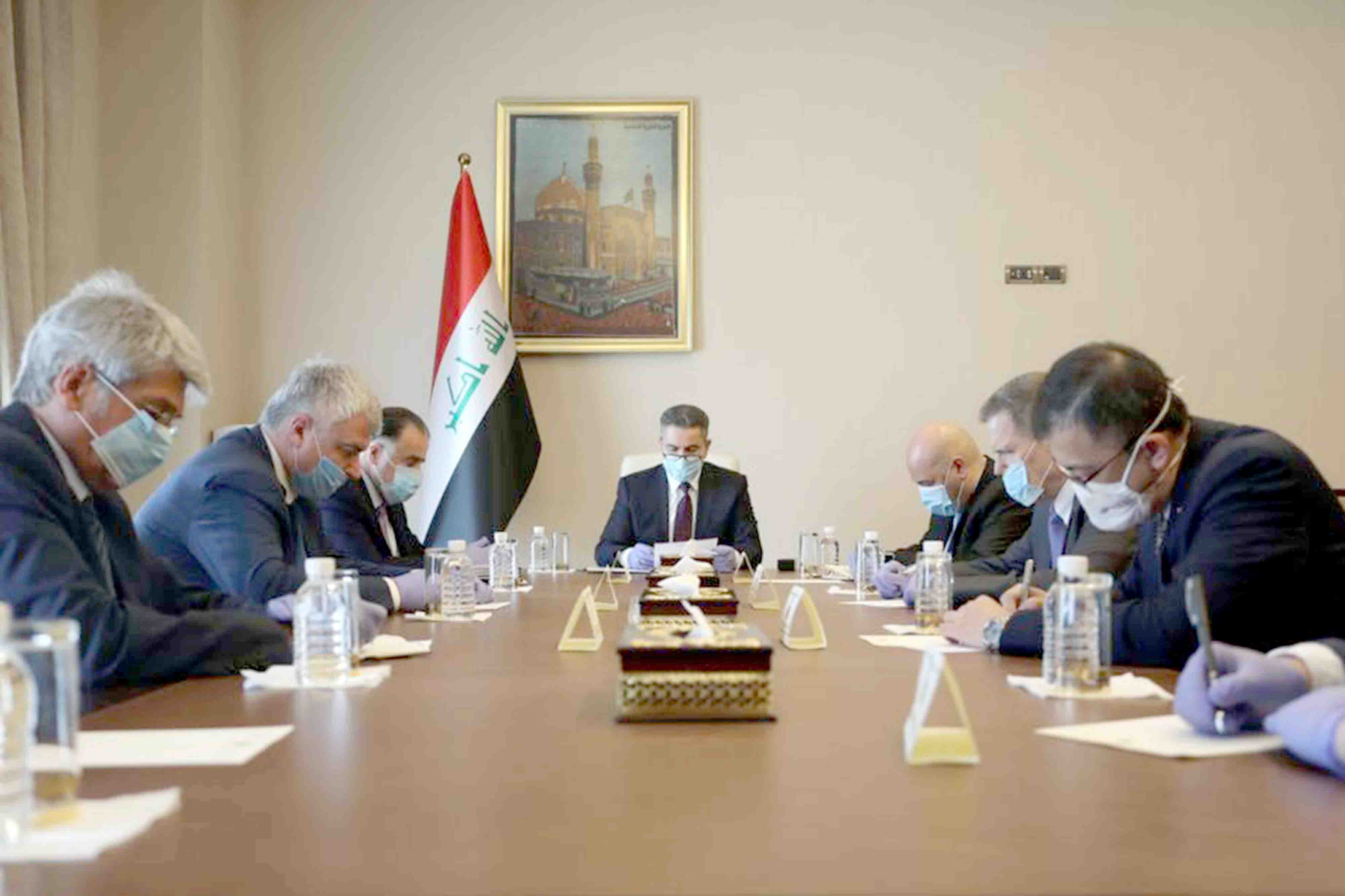 Iraqi Prime Minister-designate Adnan al-Zurfi (C) meets with the ambassadors of the P5 countries of the United Nations Security Council in Baghdad, March 25. (AFP)