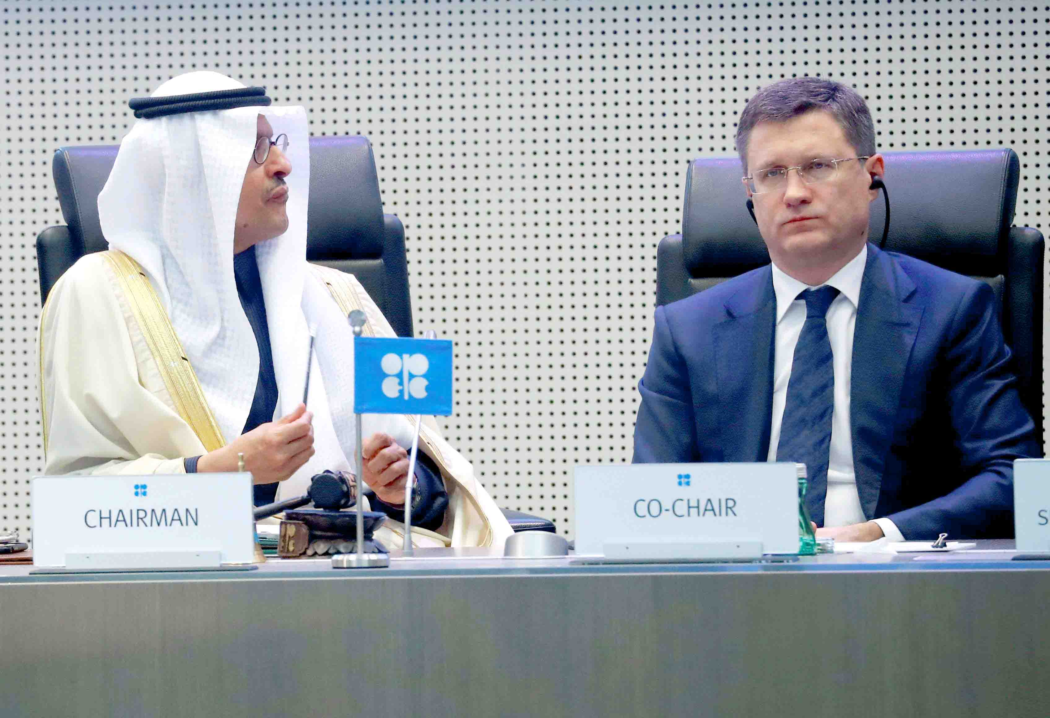 Saudi Minister of Energy Prince Abdulaziz bin Salman Al-Saud (L) and Russia's Energy Minister Alexander Novak at the beginning of an OPEC+ meeting in Vienna, last December. (Reuters)