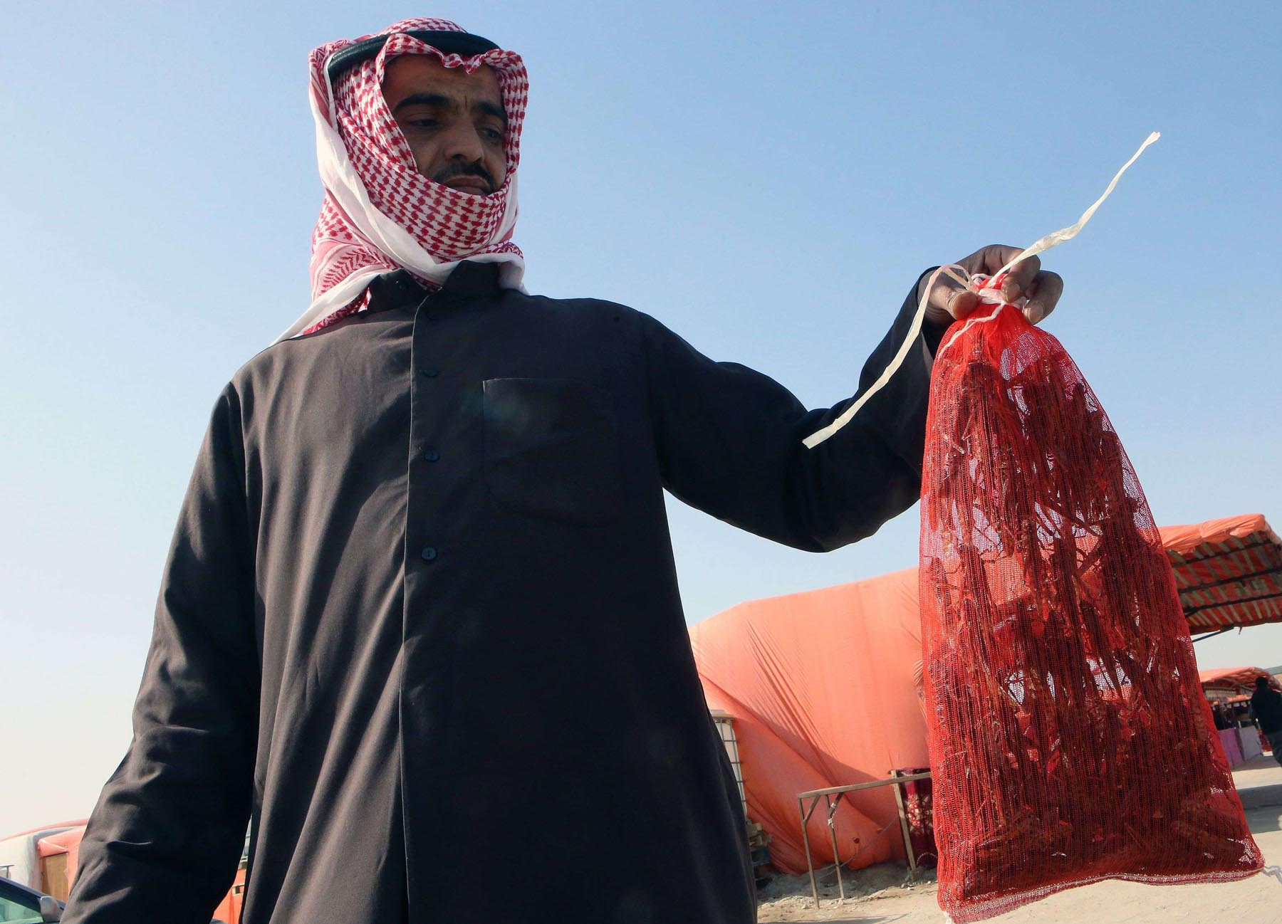 A Kuwaiti man shows a bag full of locusts at a market in Al-Rai, north-west of Kuwait City, January 25. (AFP)