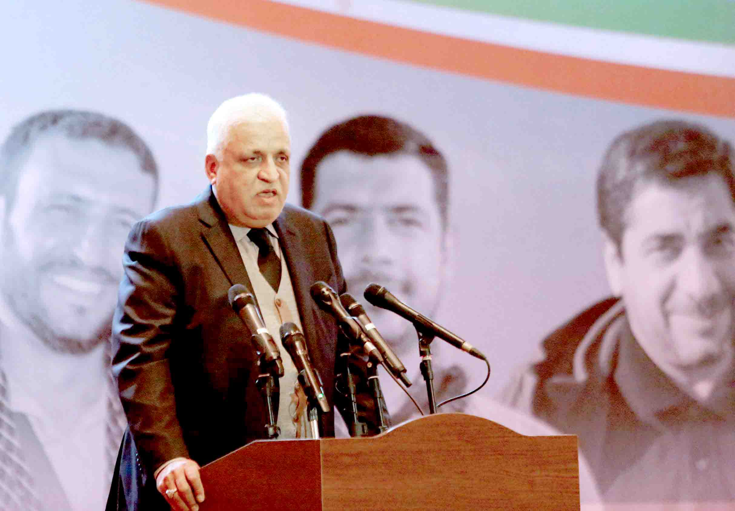Iraqi's national security adviser Faleh Fayyad, who also is a leader of the Popular Mobilisation Force known as the Hashed al-Shaabi, addresses a memorial service held in Baghdad on February 11, 2020 to mark 40 days since the killing of Iran's Qasem Soleimani. (AFP)