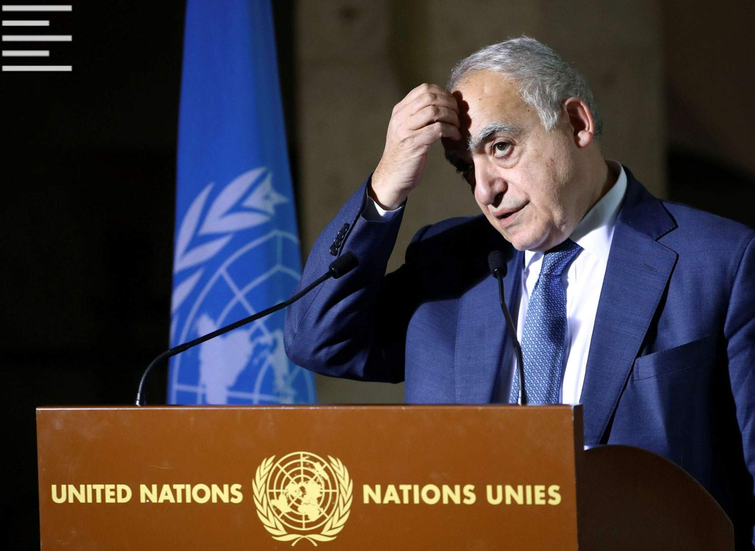 UN Envoy for Libya, Ghassan Salame holds a news briefing after a meeting of the 5+5 Libyan Joint Military Commission in Geneva, Switzerland, February 6. (Reuters)