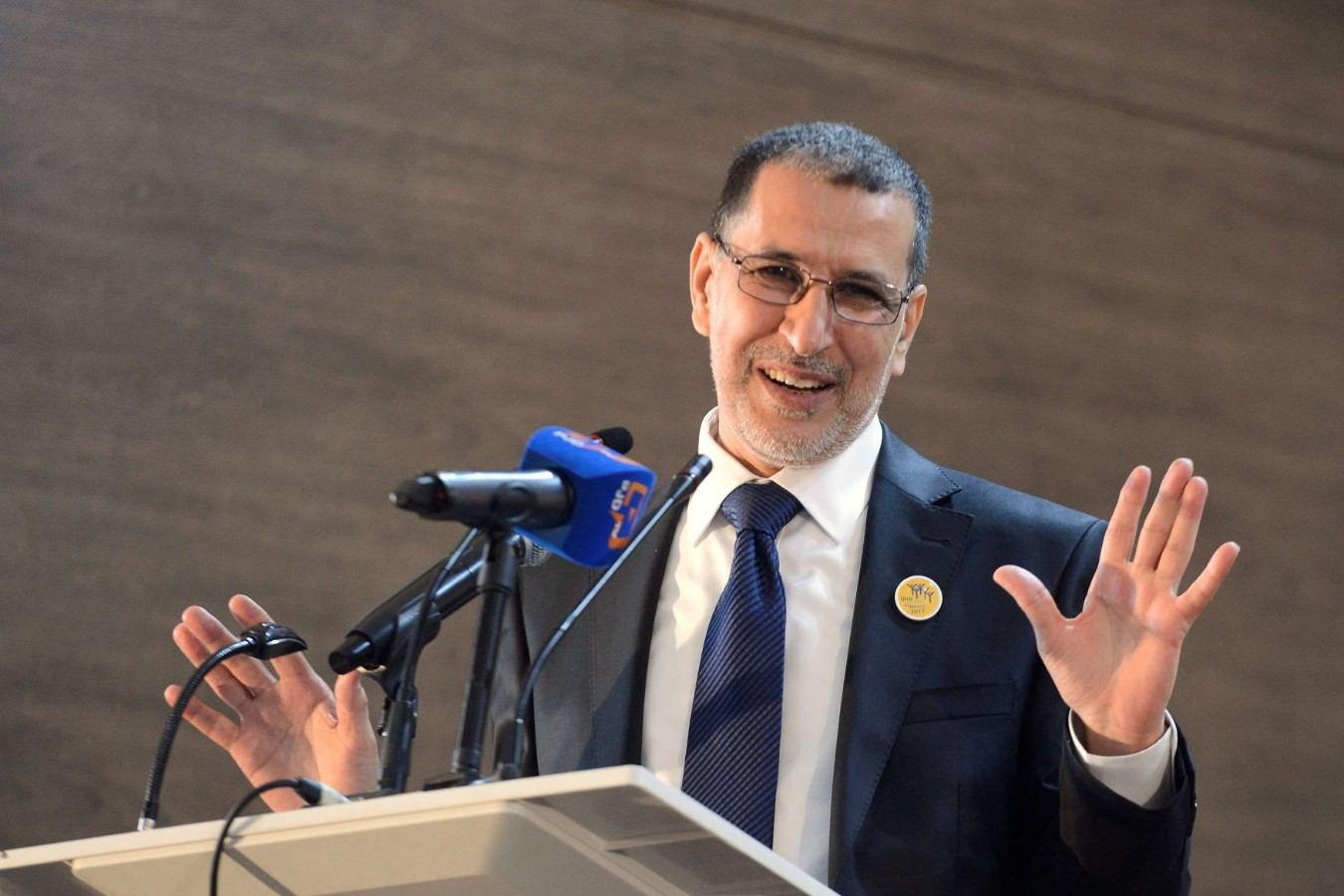 A 2017 file picture shows Moroccan Prime Minister Saad Eddine El Othmani of the Islamist Justice and Development Party giving a speech at the PJD party headquarters in Rabat. (Reuters)