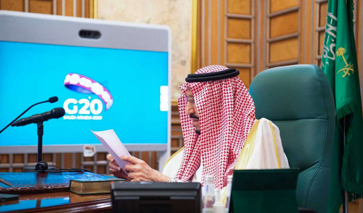 Saudi King Salman bin Abdulaziz Al Saud is shown in Riyadh during the emergency G20 videoconference convened to discuss a response to the coronavirus outbreak, March 26. (AFP)