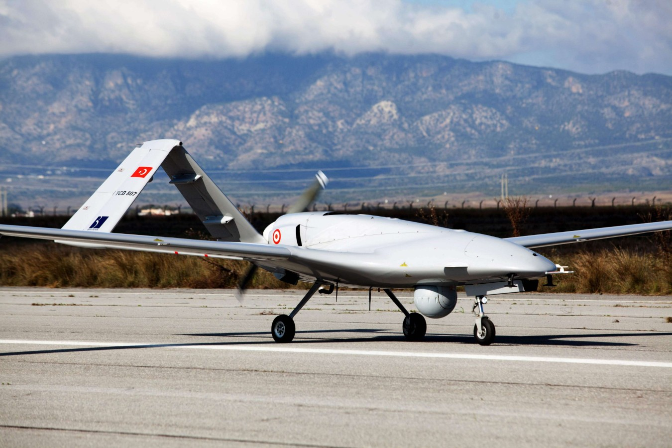 The Turkish Bayraktar TB2 drone at Gecitkale Airport in Famagusta in the self-proclaimed Turkish Republic of Northern Cyprus (TRNC). (AFP)