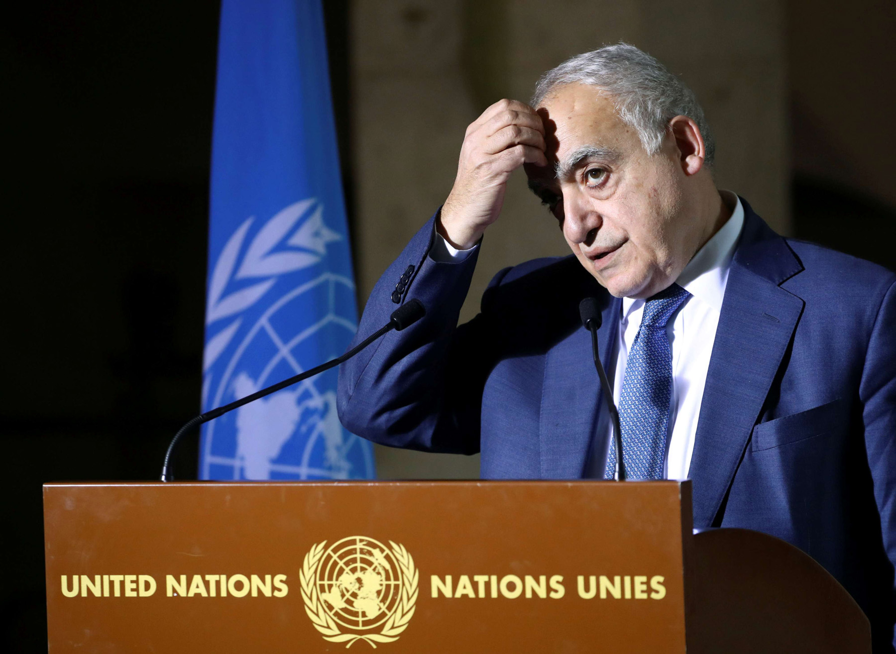 UN Special Envoy for Libya Ghassan Salame delivers a news briefing after a meeting of the 5+5 Libyan Joint Military Commission in Geneva, Switzerland, February 6. (Reuters)