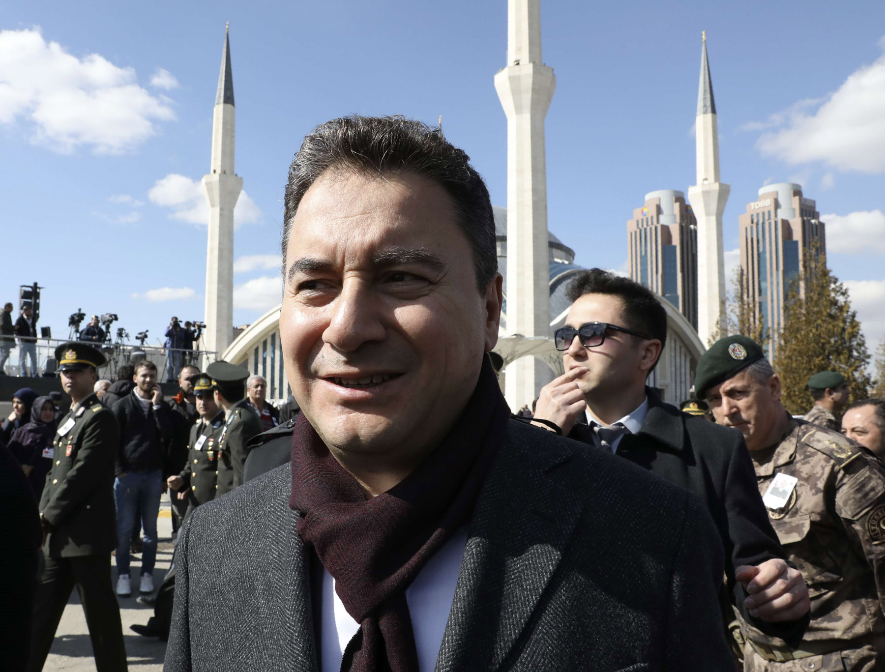 Ali Babacan attends in Ankara the funeral of a Turkish soldier killed in Syria, March 1. (AP)