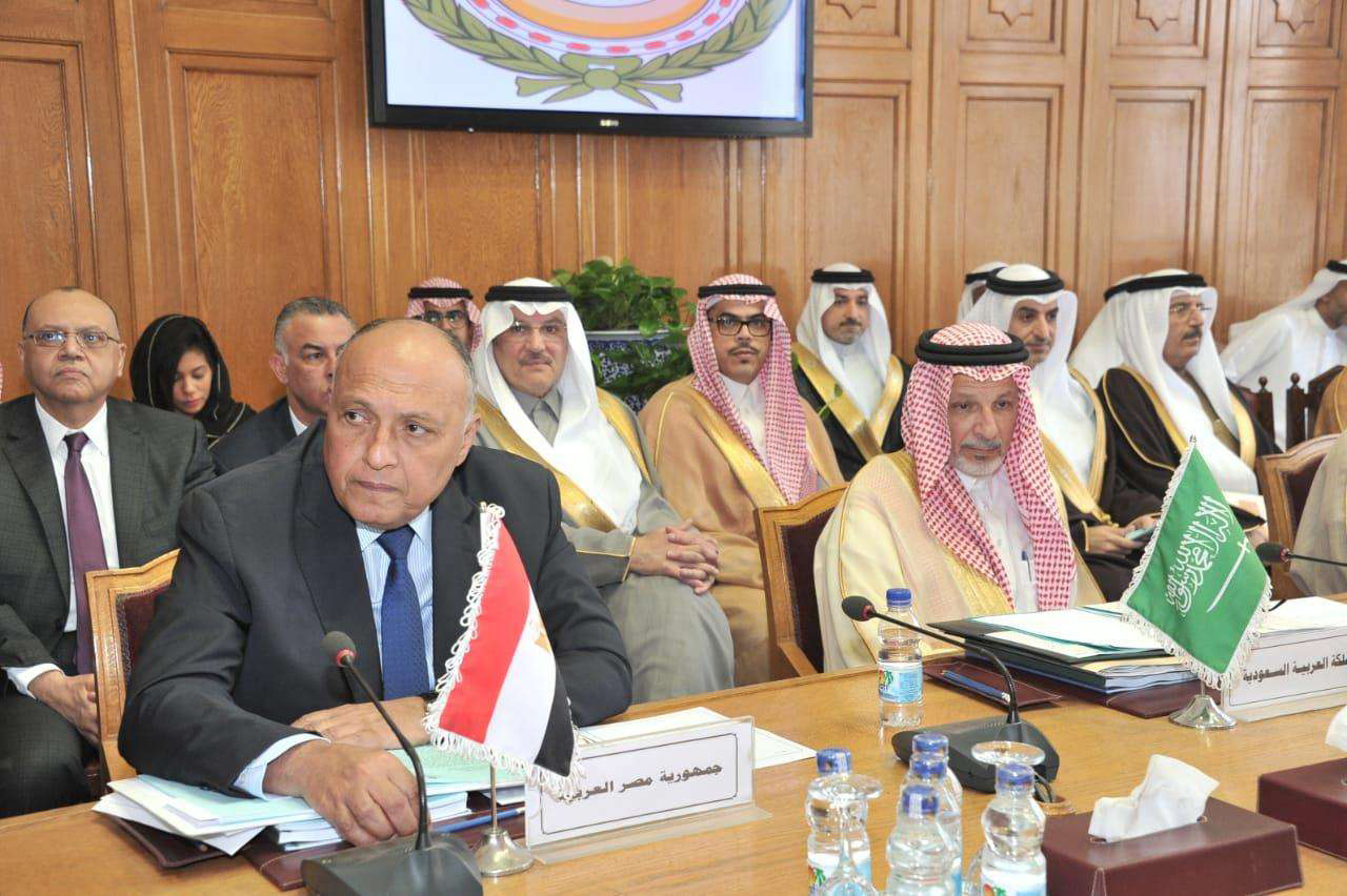 Reaching out to friends. Egypt's Foreign Minister Sameh Shoukry (L) and Saudi Minister of State for African Affairs Ahmed Kattan (R) attend the consultative meeting on the sidelines of the 153rd Arab Foreign Ministers annual meeting at Arab League headquarters in Cairo, March 4. (DPA)