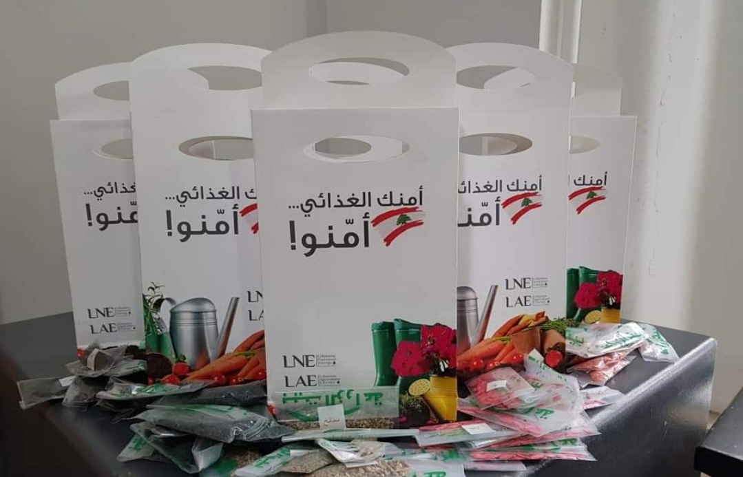 Packs of multiple seeds and technical brochures are distributed under the food security initiative (LNE)