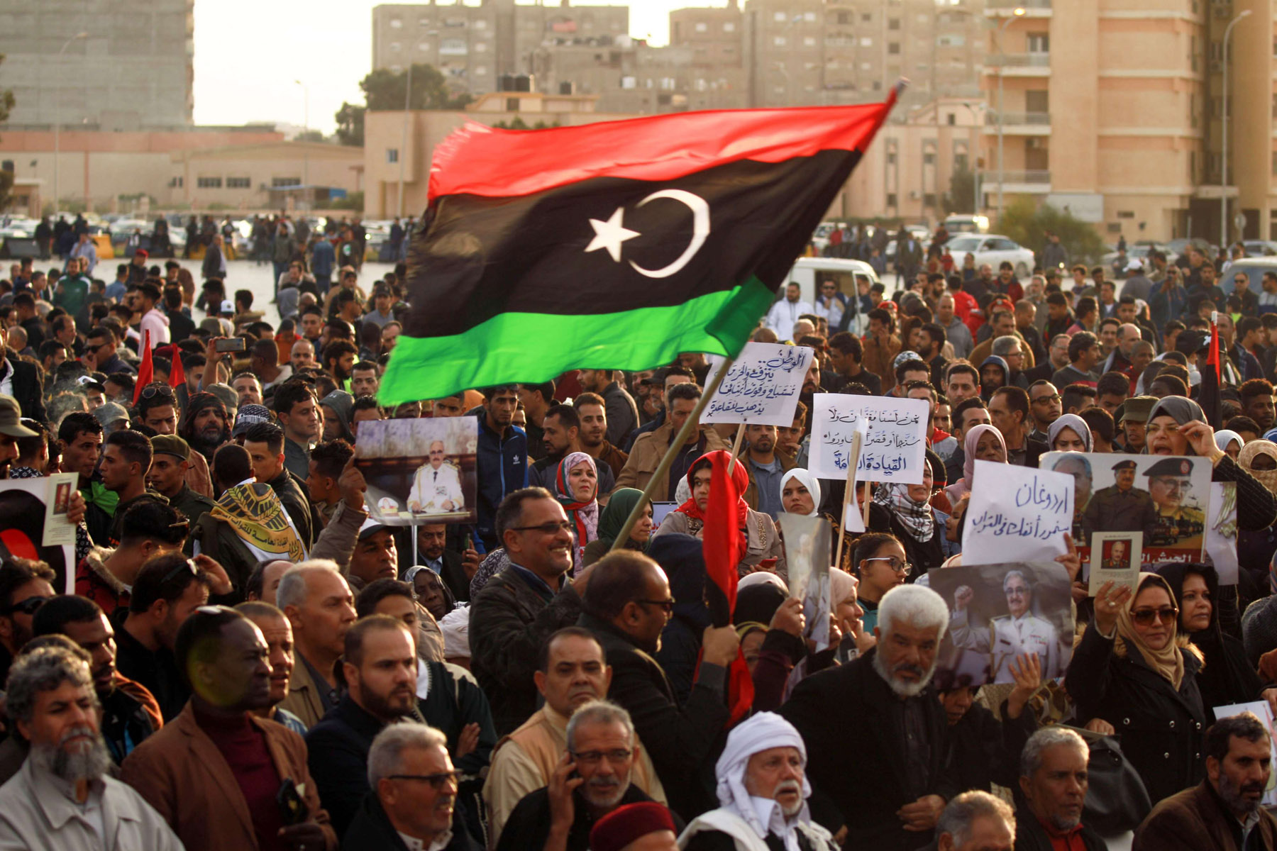 A file picture shows supporters of Libyan National Army (LNA) commander Khalifa Haftar as they take part in a demonstration in the coastal city of Benghazi in eastern Libya, against Turkish intervention in the country's affairs last February 14. (AFP)