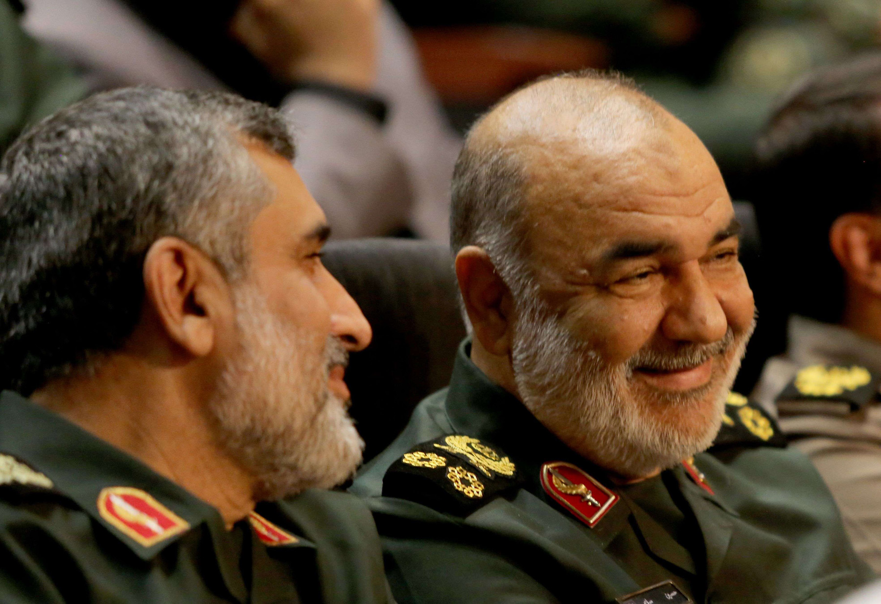 A 2019 file picture of Iranian Brigadier-General Amir Ali Hajizadeh, the head of the Revolutionary Guard's aerospace division (L) and Revolutionary Guards commander Major-General Hossein Salami (R) at Tehran's Islamic Revolution and Holy Defence museum. (AFP)