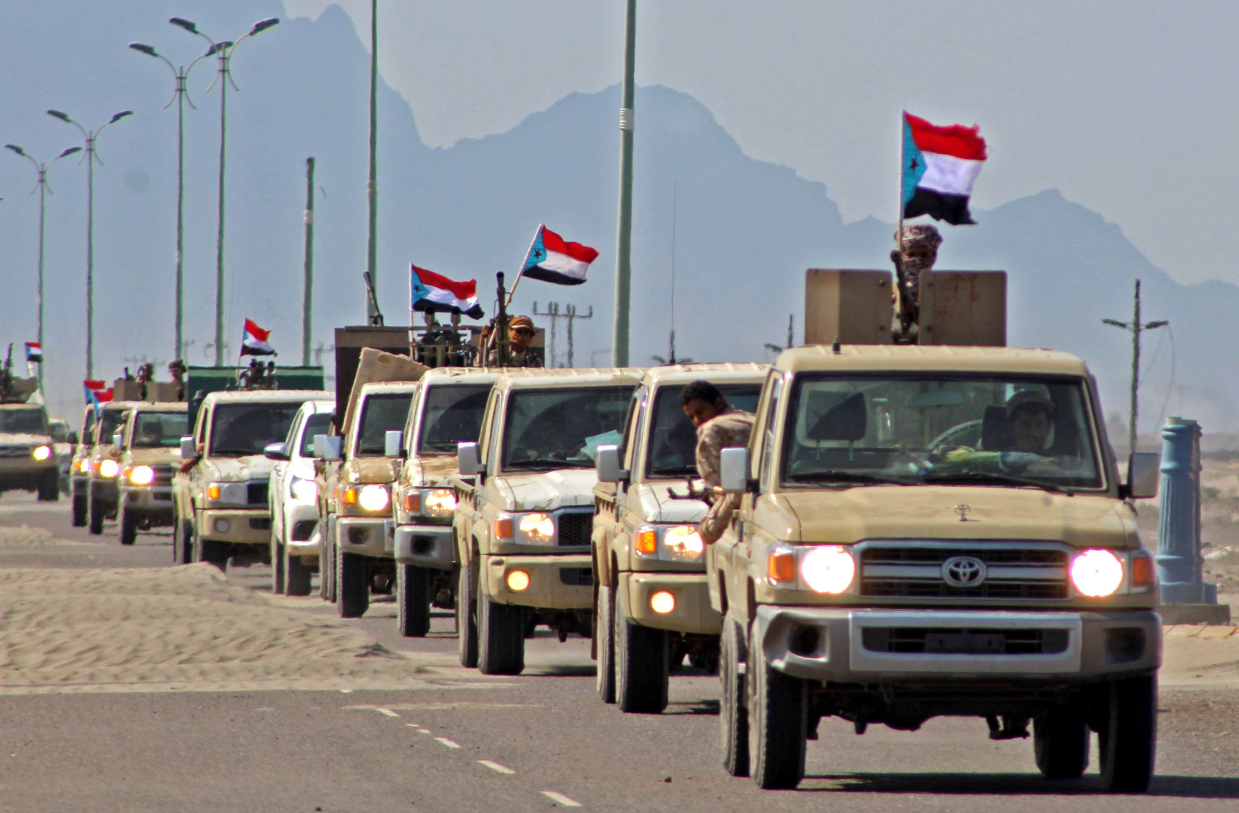 A file photo shows deployment of troops loyal to Yemen's Southern Transitional Council (STC), last November. (AFP)