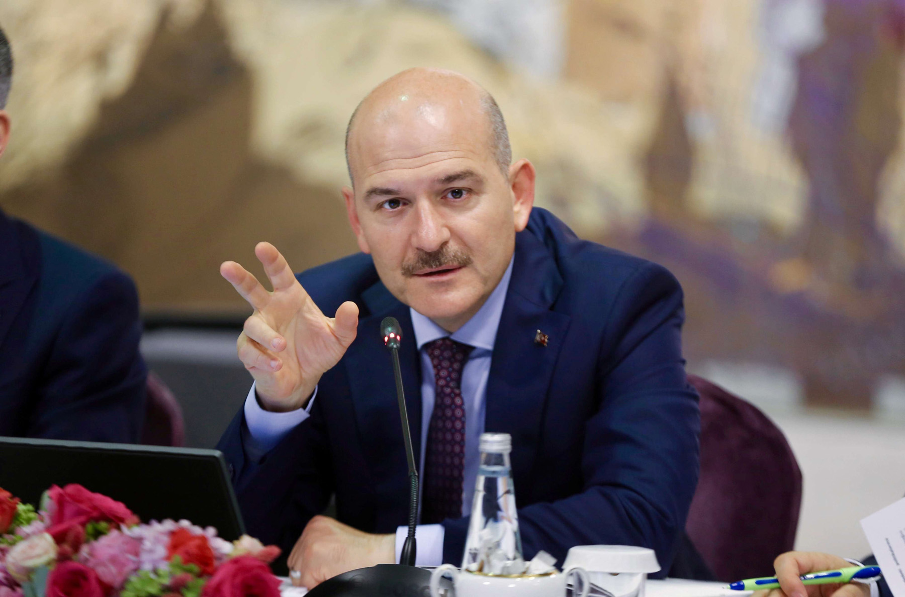 A file picture of Turkish Interior Minister Suleyman Soylu as he speaks during a news conference in Istanbul. (Reuters)