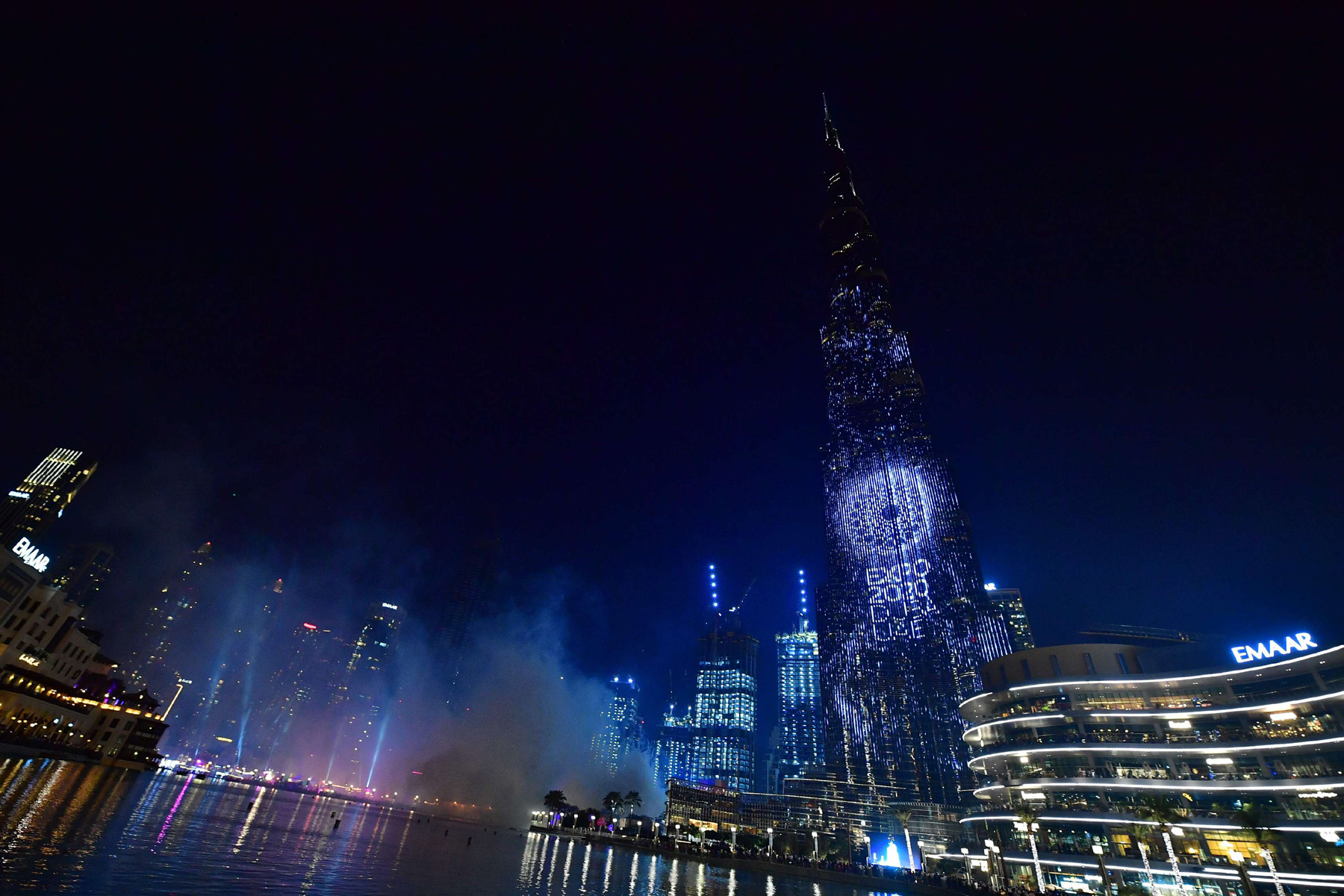 Dubai's Burj Khalifa, the world's tallest building, is illuminated during festivities marking the one-year countdown to Expo 2020, on October 20, 2019. (AFP)