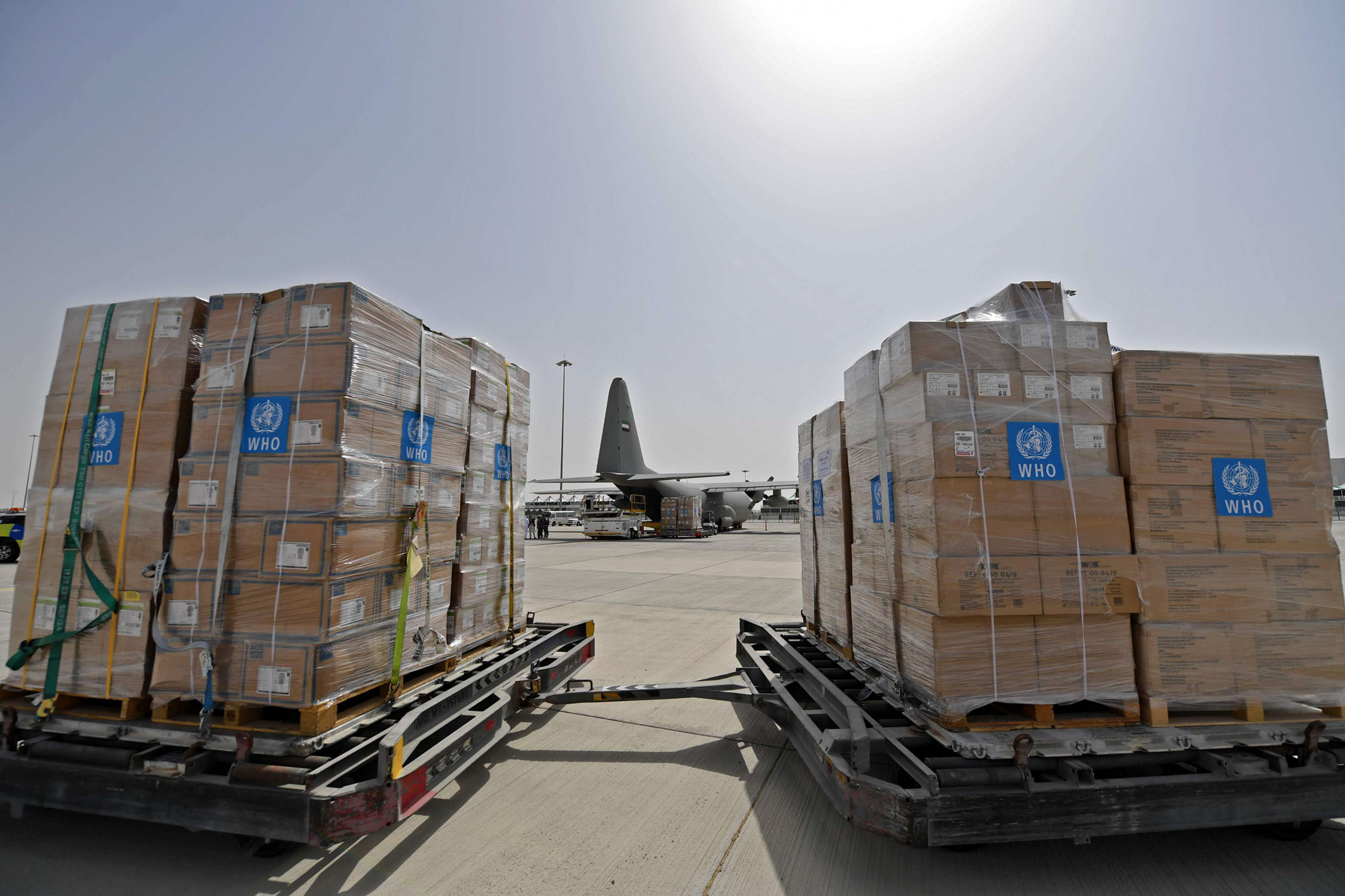 Emirates Coronavirus medical aid prepared for shipment out of WHO Emergency hub at the Al Maktum International Airpoart in Dubai.( AFP)
