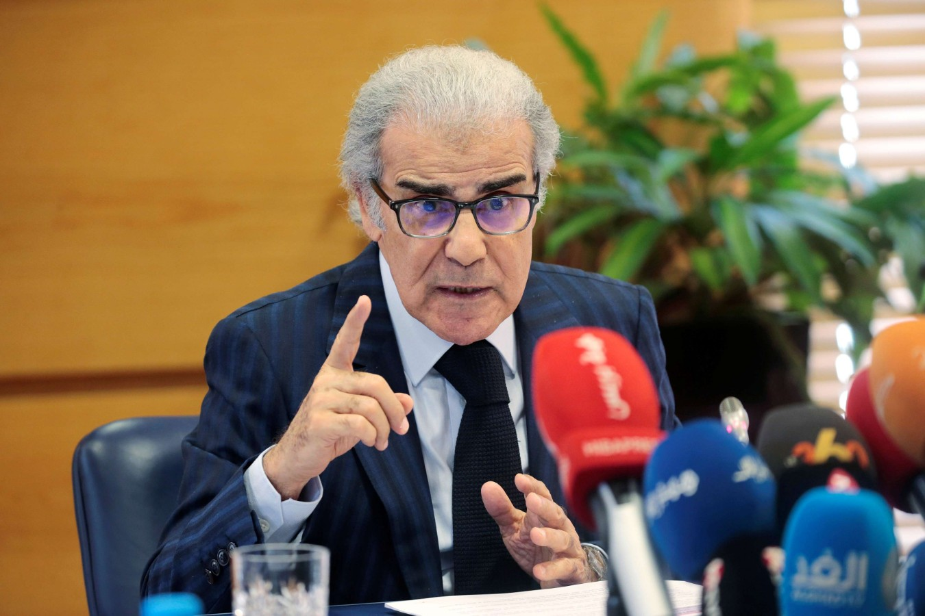 A 2019 file picture shows Bank Al-Maghrib Governor Abdellatif Jouahri speaking during a news conference in Rabat. (Reuters)