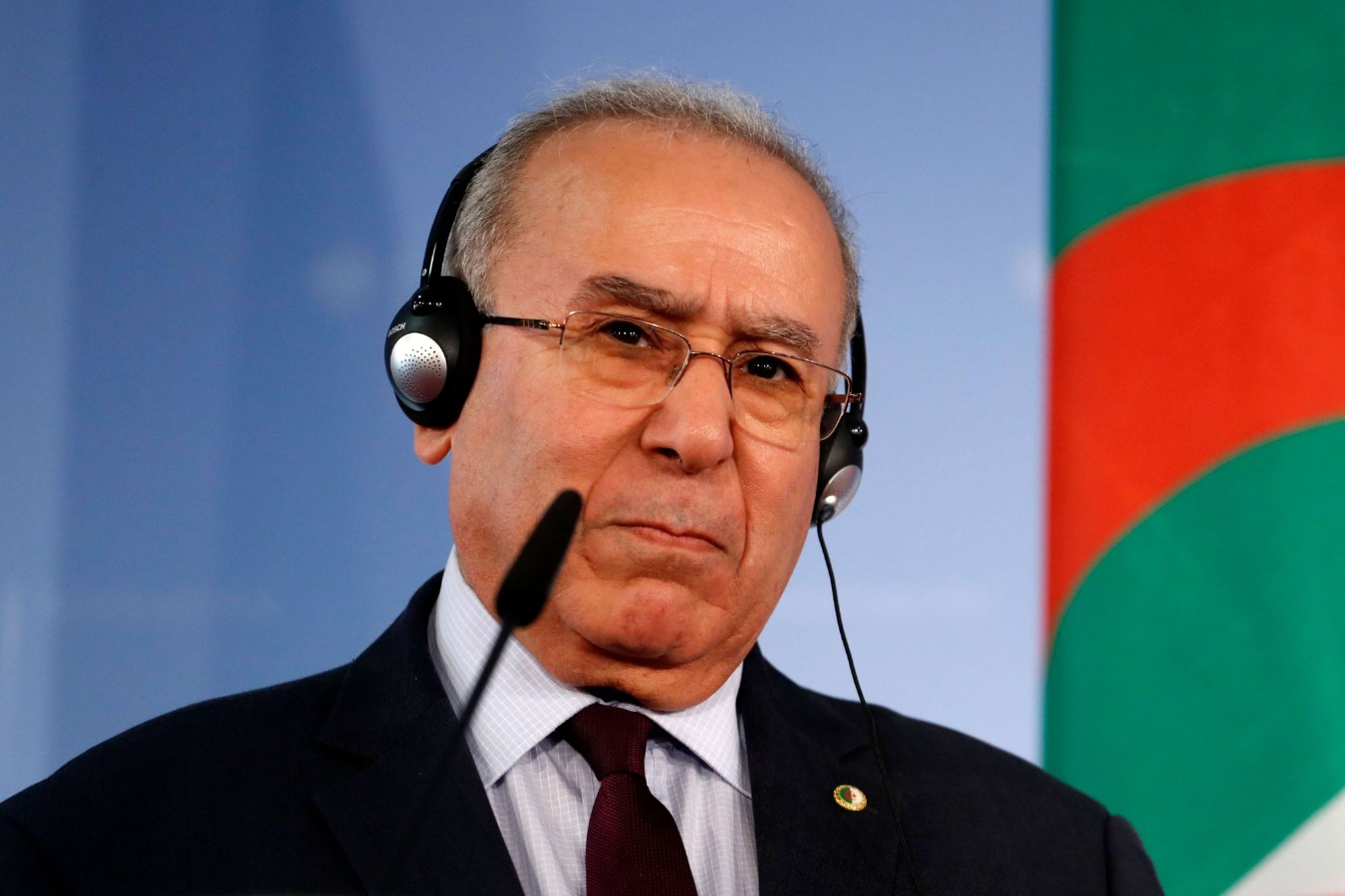 A 2019 file picture of former Algerian Foreign MInister Ramtane Lamamra speaking during a press conference. (AFP)