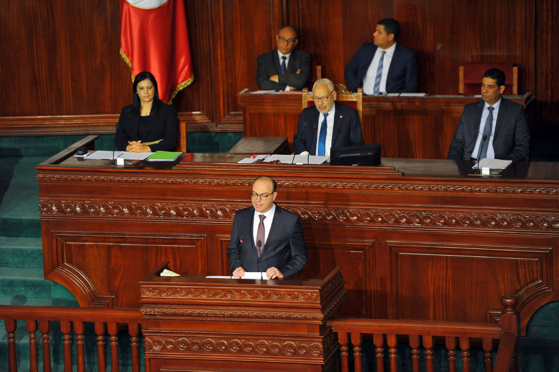 A February file picture of Tunisian Prime Minister Elyes Fakhfakh speaking to parliament. (DPA)