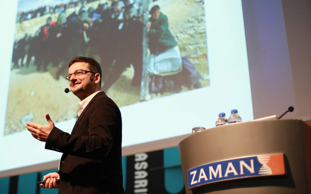 Fevzi Yazici speaking at Zaman newspaper (www. turkeypurge.com)