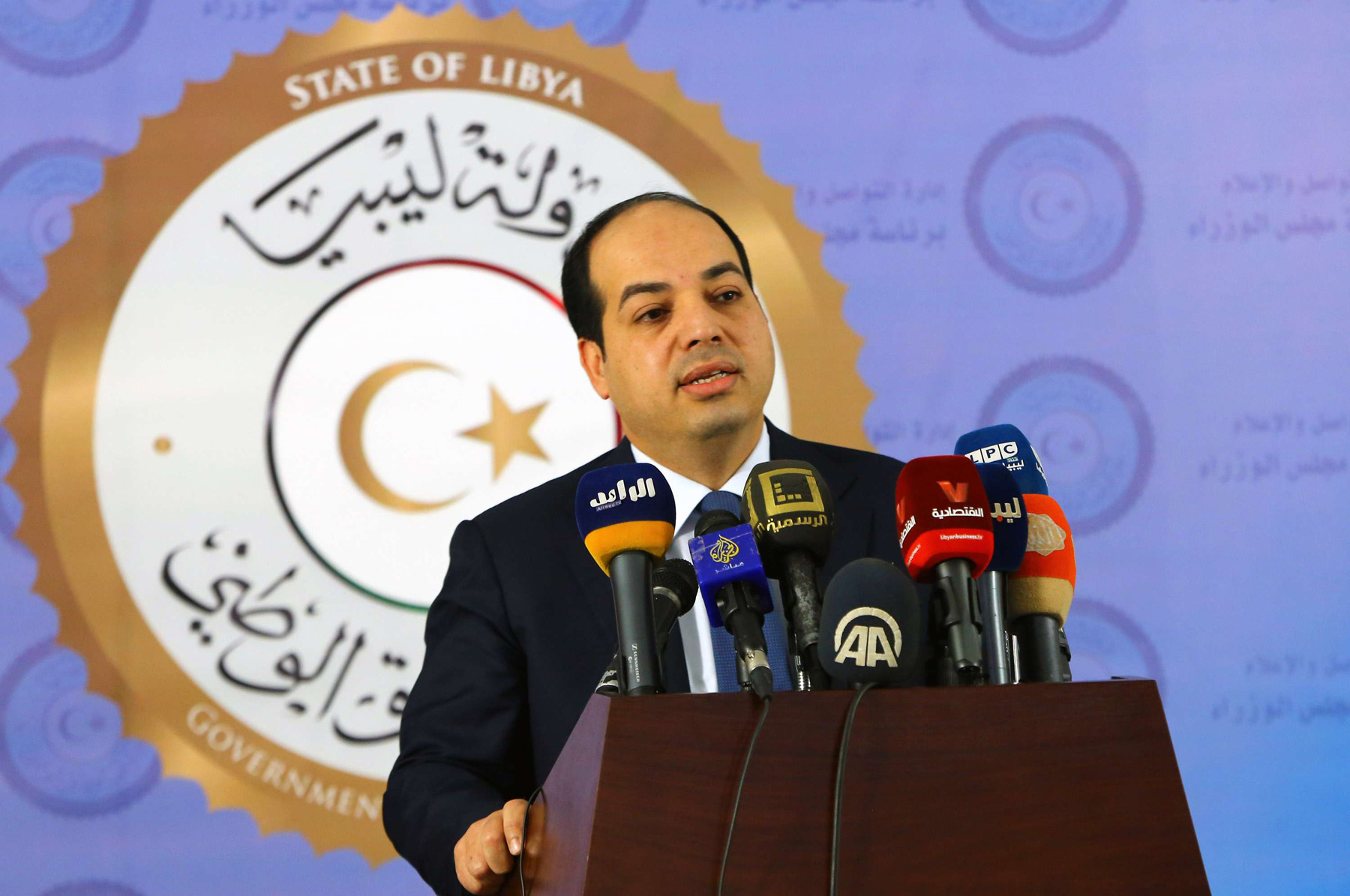 A file picture of Libyan deputy prime minister of the Government of National Accord (GNA), Ahmed Maiteeq, speaking at news conference. (AFP)