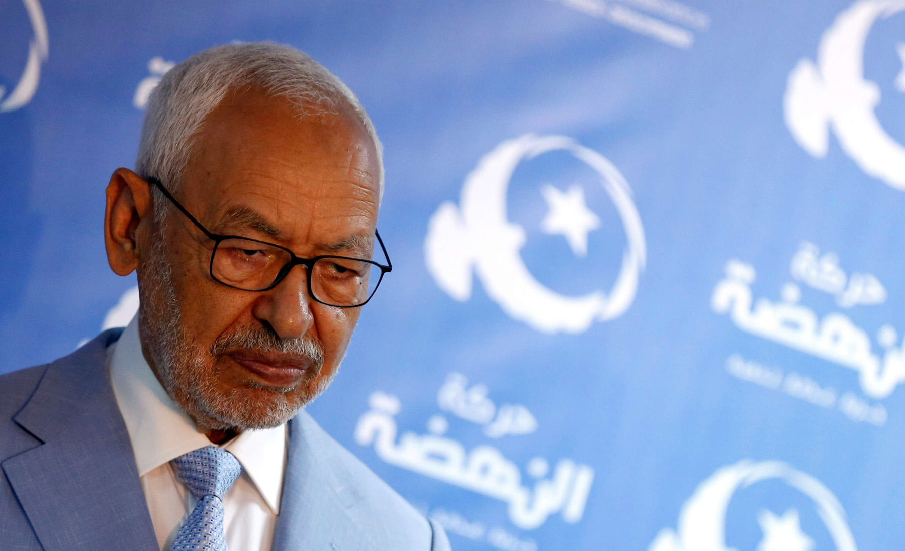 A 2019 file picture of Rached Ghannouchi, leader of Tunisia's Islamist Ennahda Party in Tunis. (REUTERS)