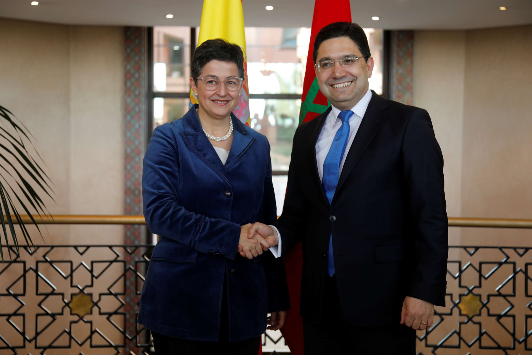 Moroccan Foreign Minister Nasser Bourita meets with Spanish counterpart Arancha Gonzalez Laya in Rabat, last January. (REUTERS)