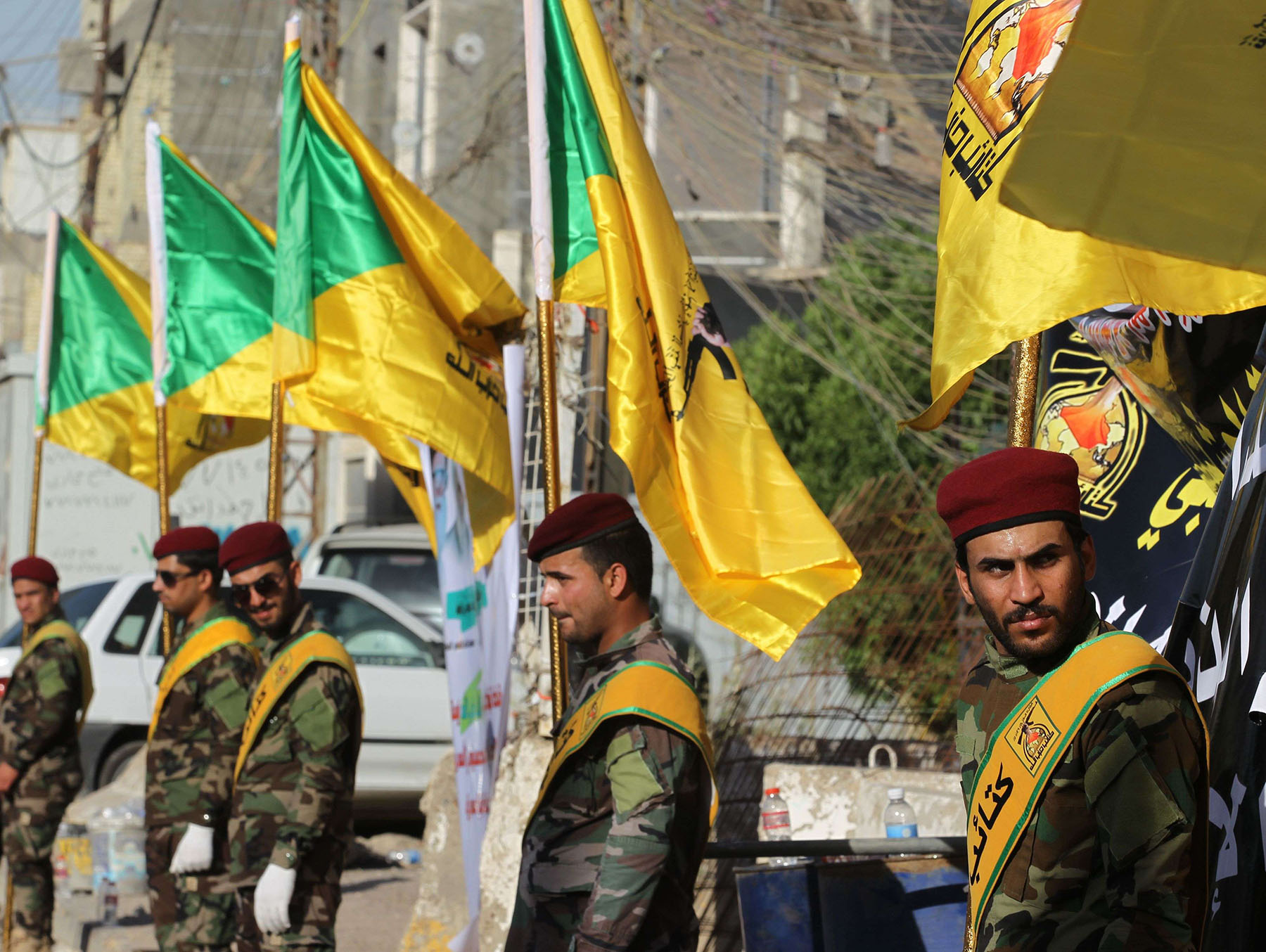 A file picture shows Members of the Iraqi Katai'b Hezbollah during a march in Baghdad. (AFP)
