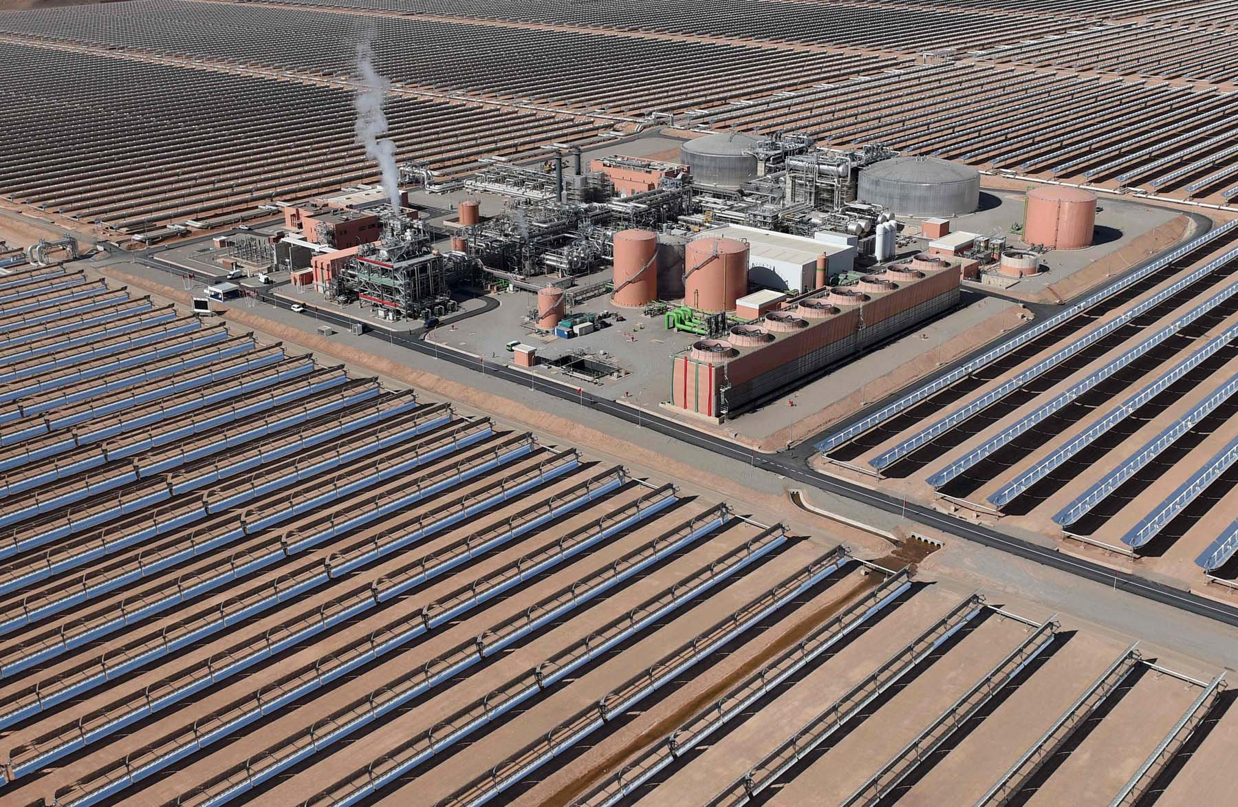 An aerial view of the solar mirrors at the Noor 1 Concentrated Solar Power (CSP) plant, some 20km (12.5 miles) outside the central Moroccan town of Ouarzazate. (AFP)
