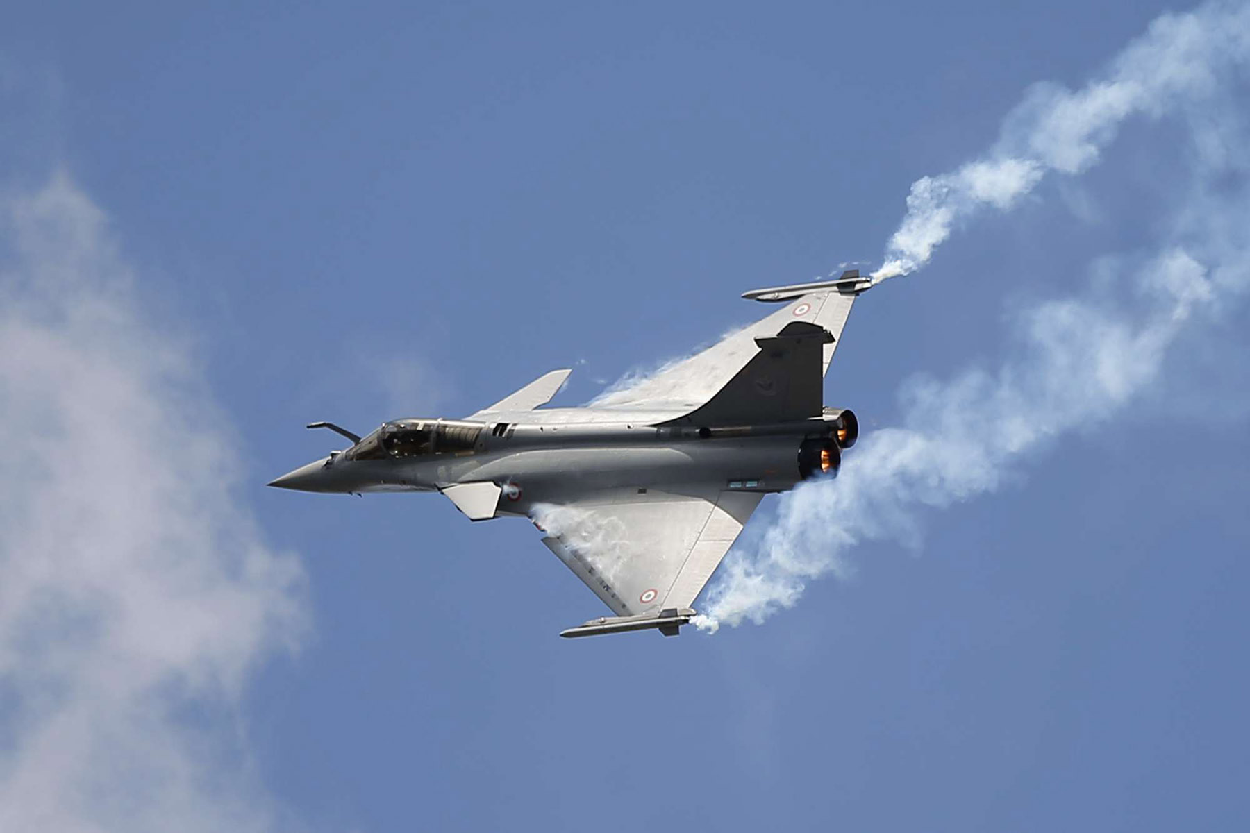 A Rafale jet aircraft performs a demonstration flight at the Paris Air Show, in Le Bourget airport, north of Paris. (AP)