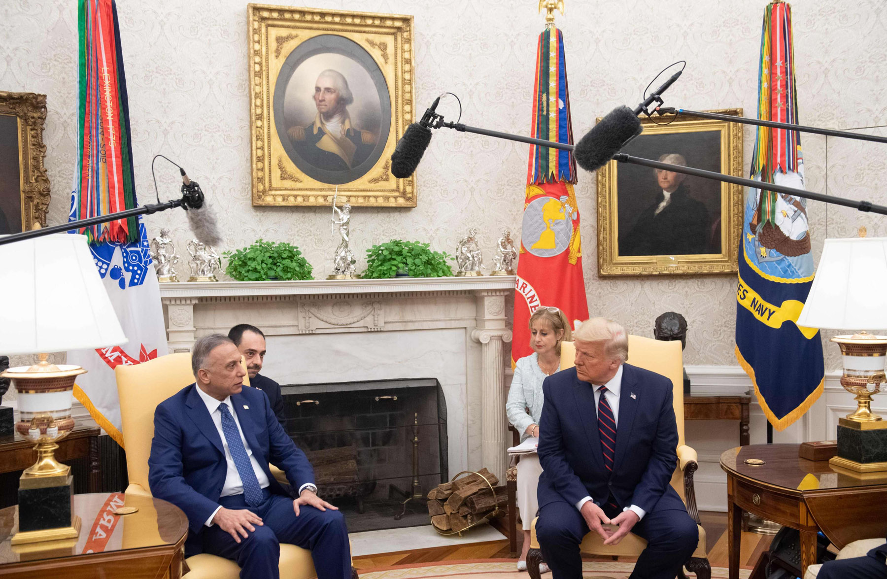 US President Donald Trump meets with Iraqi Prime Minister Mustafa al-Kadhemi in the Oval Office of the White House in Washington, August 20. AFP