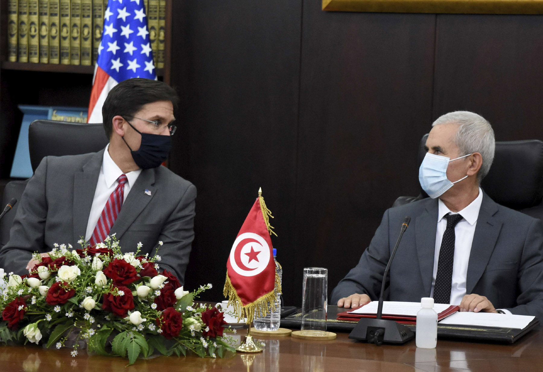 Tunisian Defence Minister Brahim Bartagi, right, talks with U.S Secretary of Defense Mark Esper in Tunis, September 30. (AP)