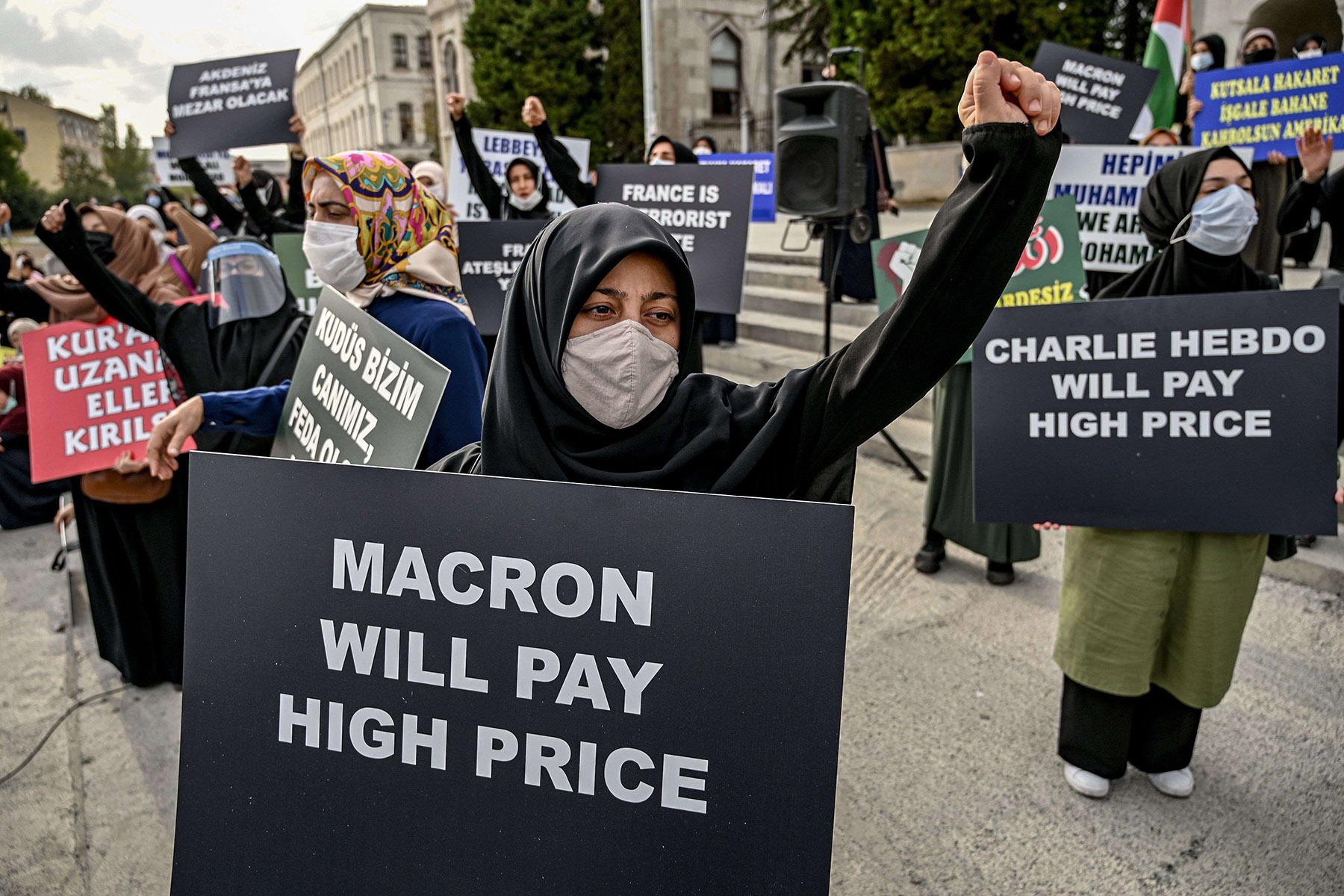 Islamist protesters demonstrate against France and the French President in Istanbul, last month. (AFP)