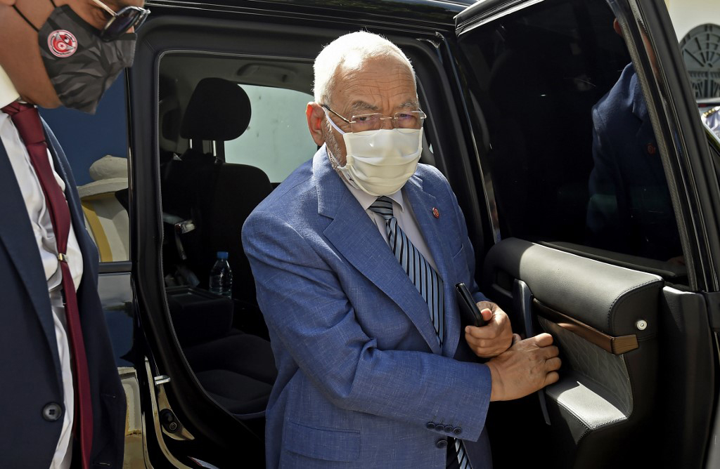 Ennahda party leader Rached Ghannouchi arrives at a ceremony in Carthage, last month. (AFP)