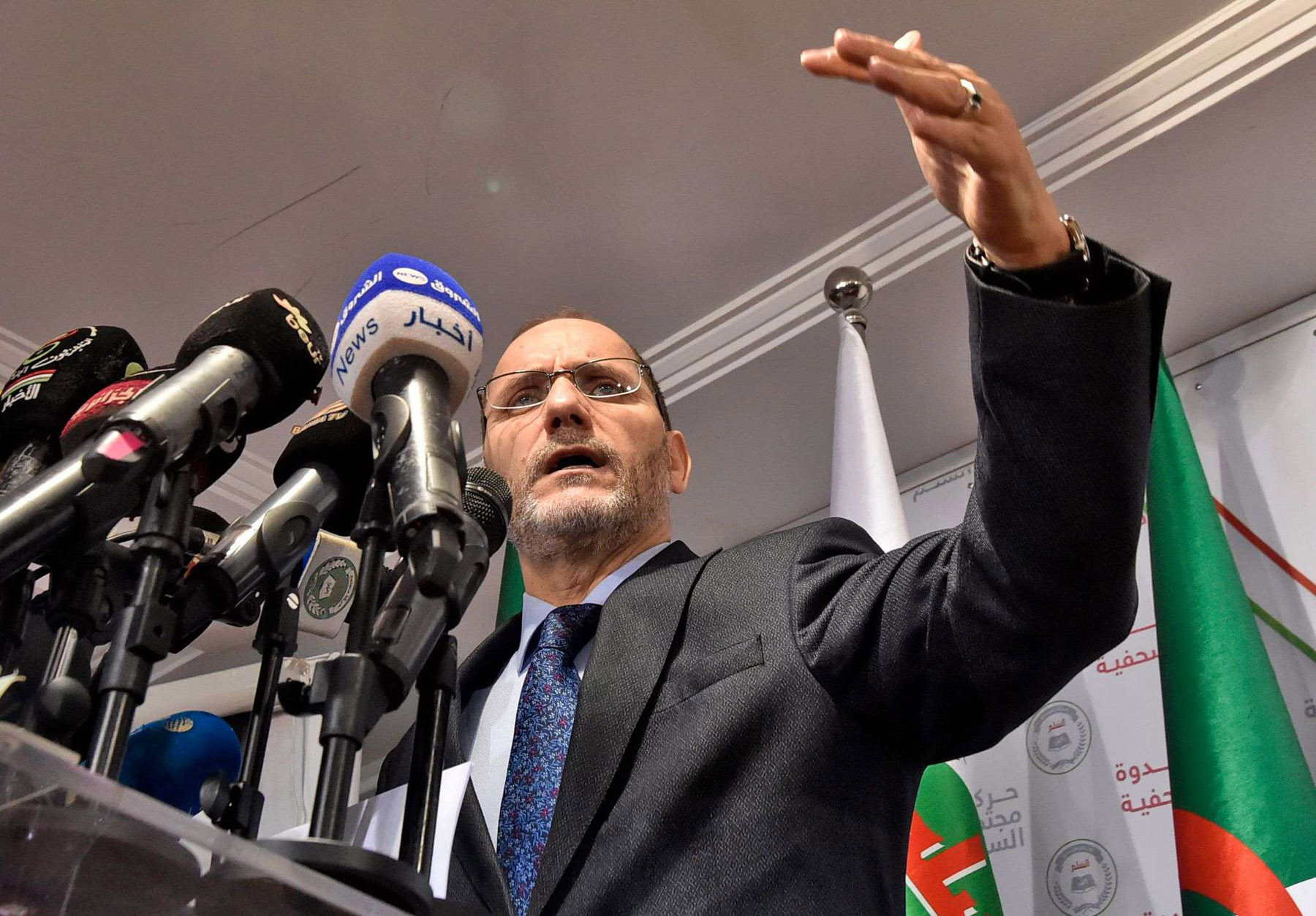 Leader of Algeria's Islamist party, the Movement of Society for Peace (MSP), Abderrezak Mokri, holds a press conference at the party's headquarters in the capital Algiers, on September 28. (AFP)