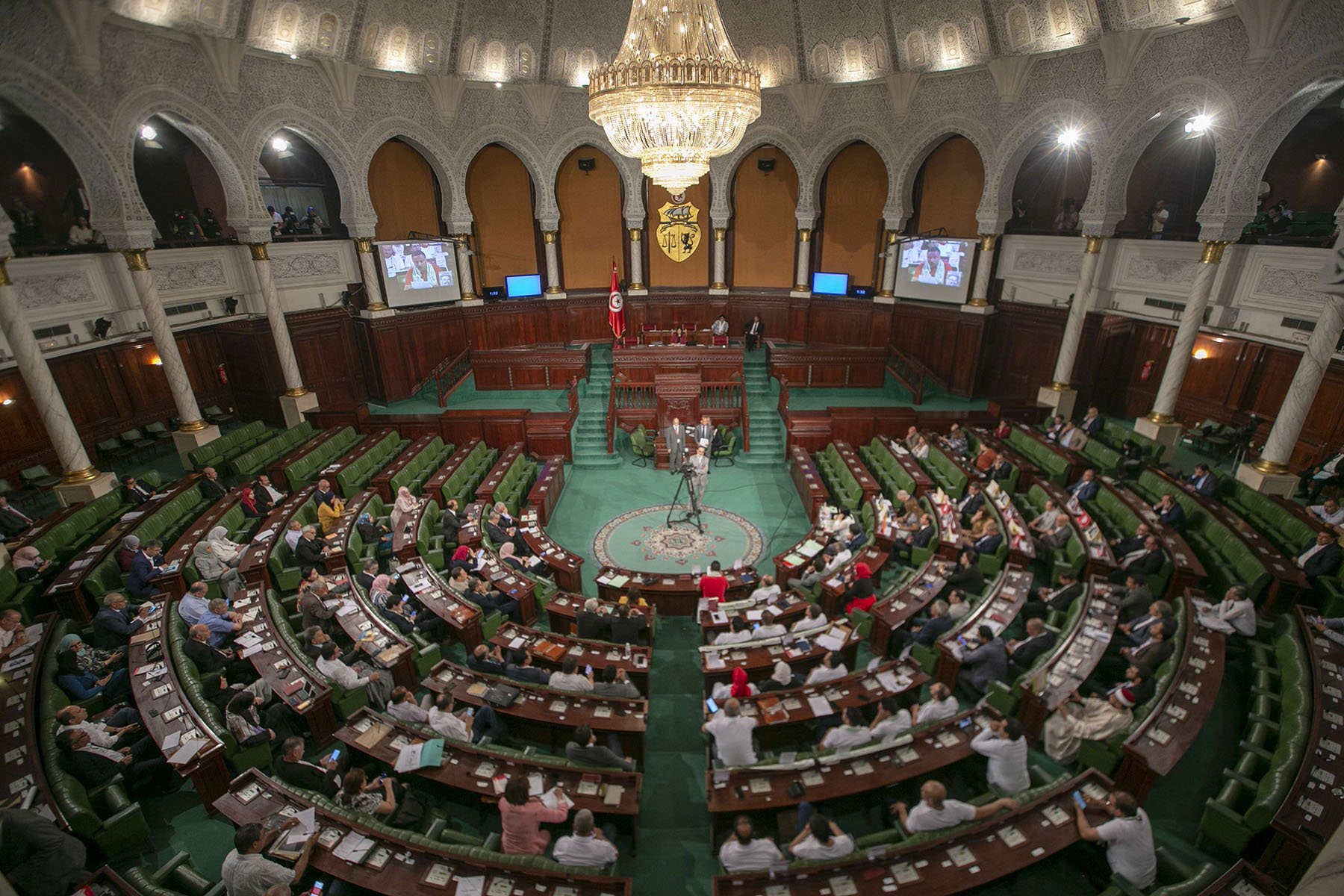 A file picture shows Tunisian MPs attending a plenary session in Tunis. (AFP)