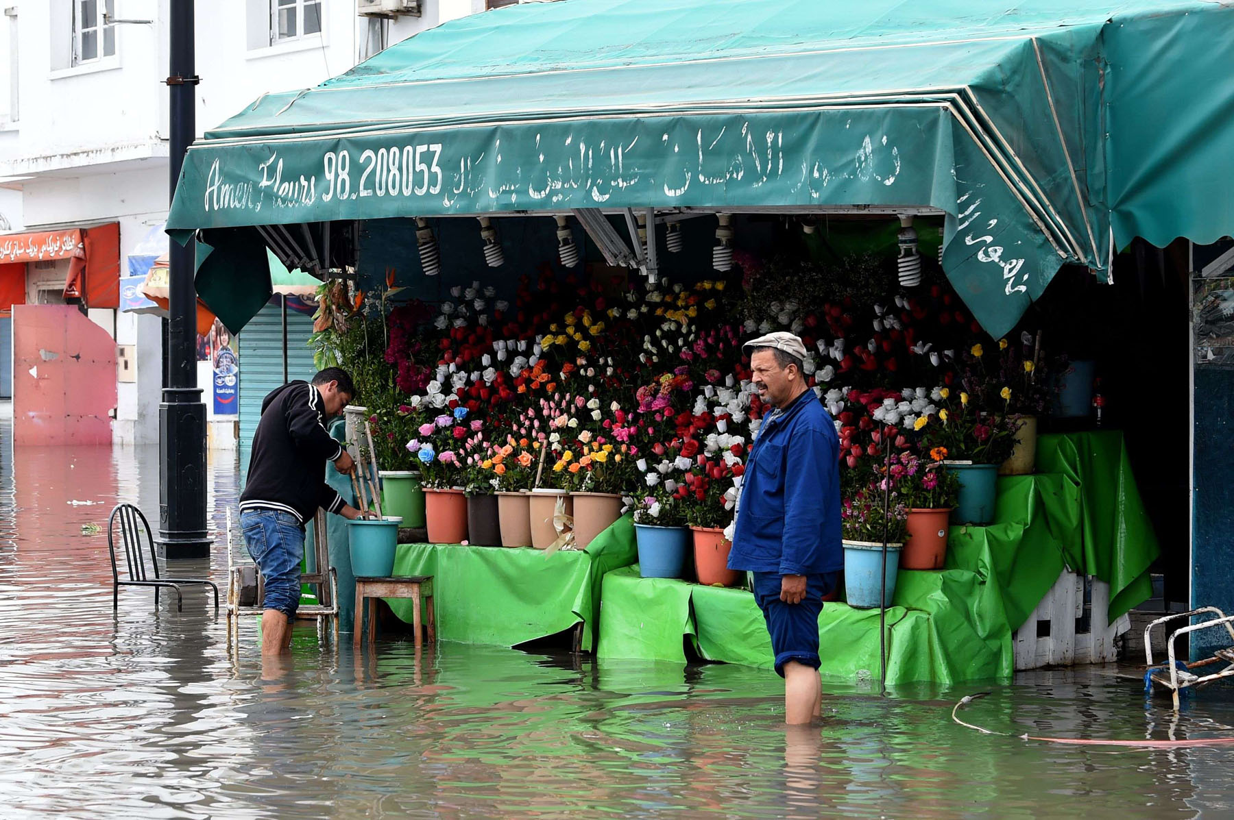 A file picture shows a flower shop owner stranded in a street flooded by torrential rains in the Tunisian capital Tunis. (AFP)