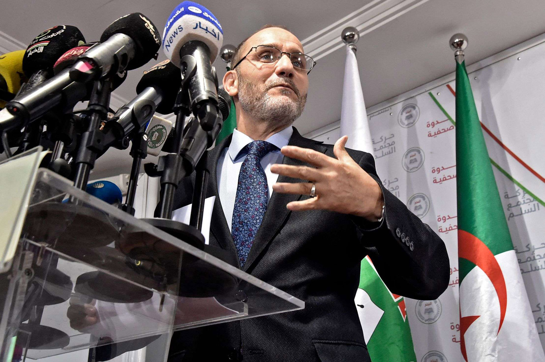 Leader of Algeria's Islamist party, the Movement of Society for Peace (MSP), Abderrezak Mokri holds a press conference in the capital Algiers. (AFP)