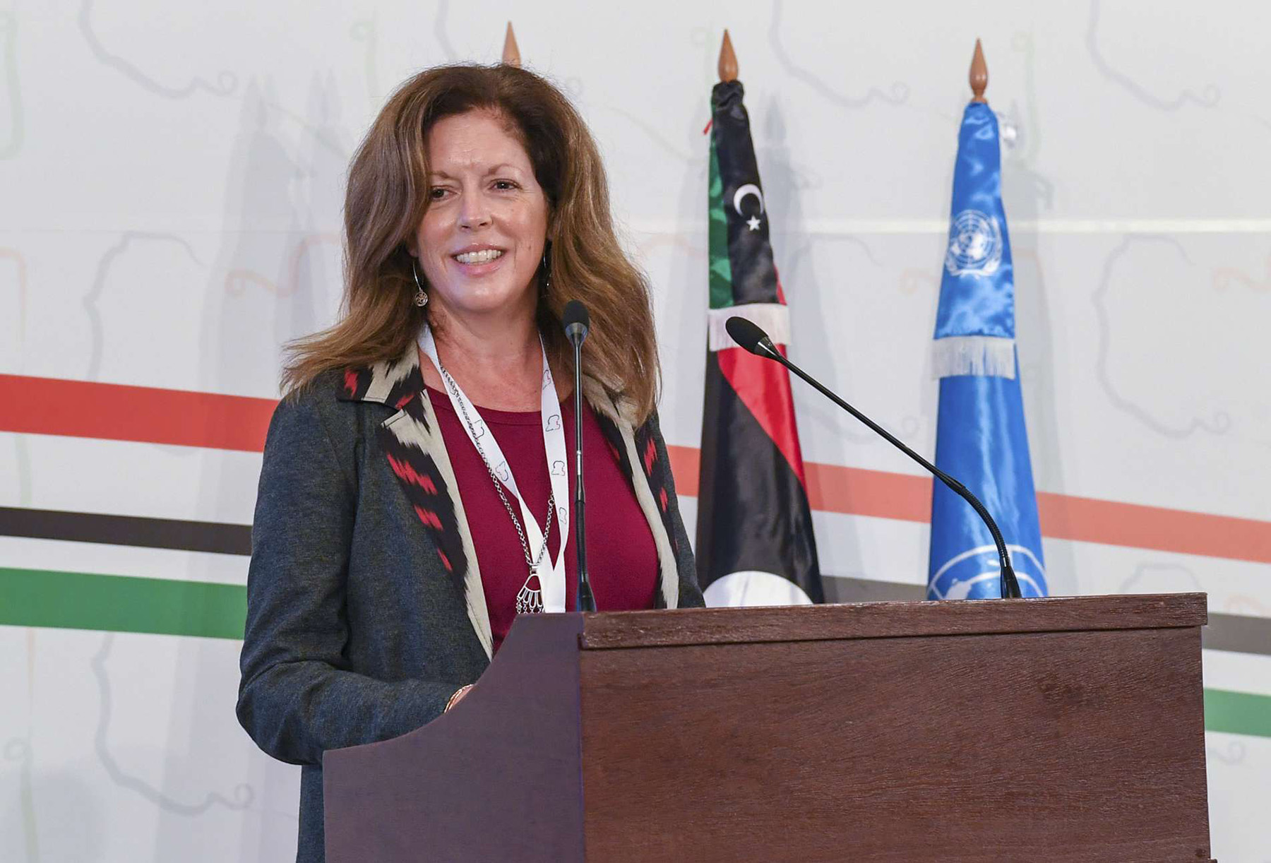 Stephanie Williams, Acting Chief UN Envoy in Libya, attends the  Libya's peace talks in Tunis . (AP)