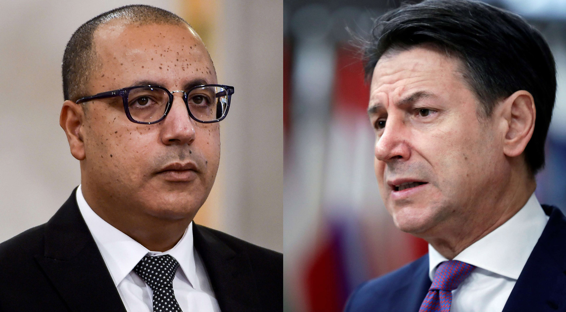 A combination photo of Tunisian Prime Minister Hichem Mechichi (left) and his Italian counterpart Giuseppe Conte. (AFP/ REUTERS)