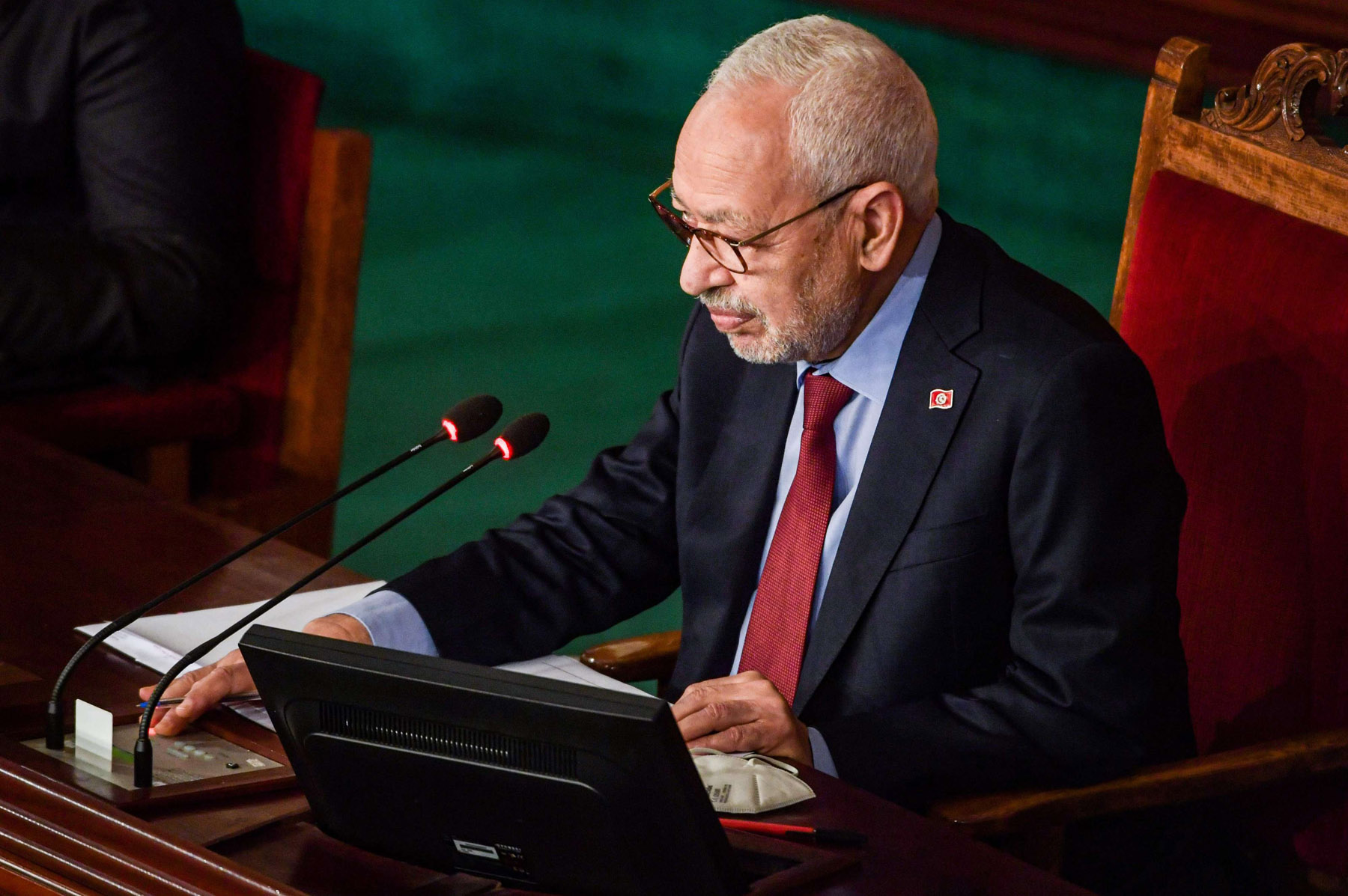 Tunisian Parliament Speaker Rached Ghannouchi attends the presentation of government ministers put forward by Prime Minister Hichem Mechichi in the capital Tunis on January 26, 2021. (AFP)