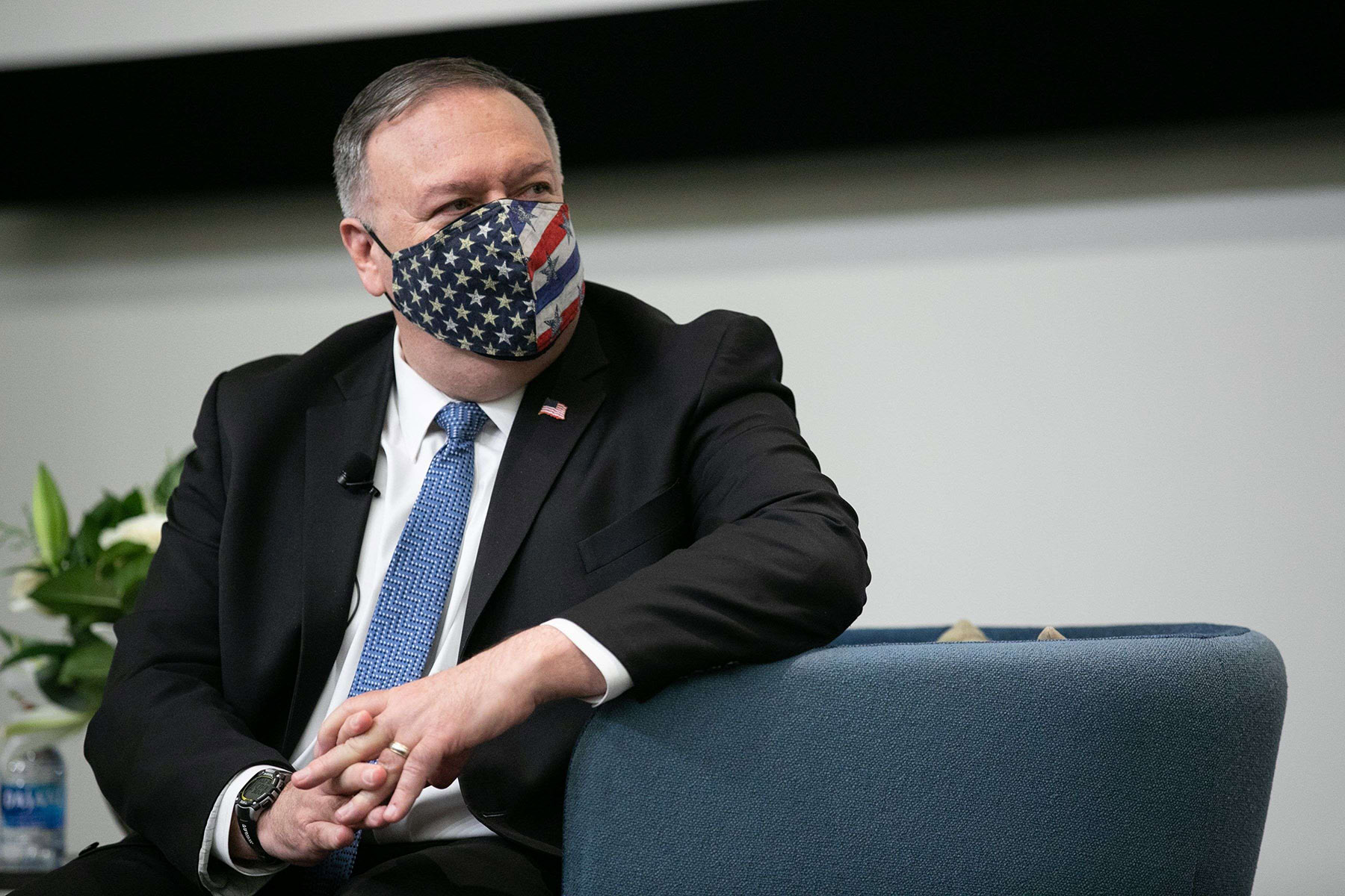 A 2019 file picture shows US Secretary of State Mike Pompeo waiting to give remarks in Atlanta, Georgia.  (AFP)