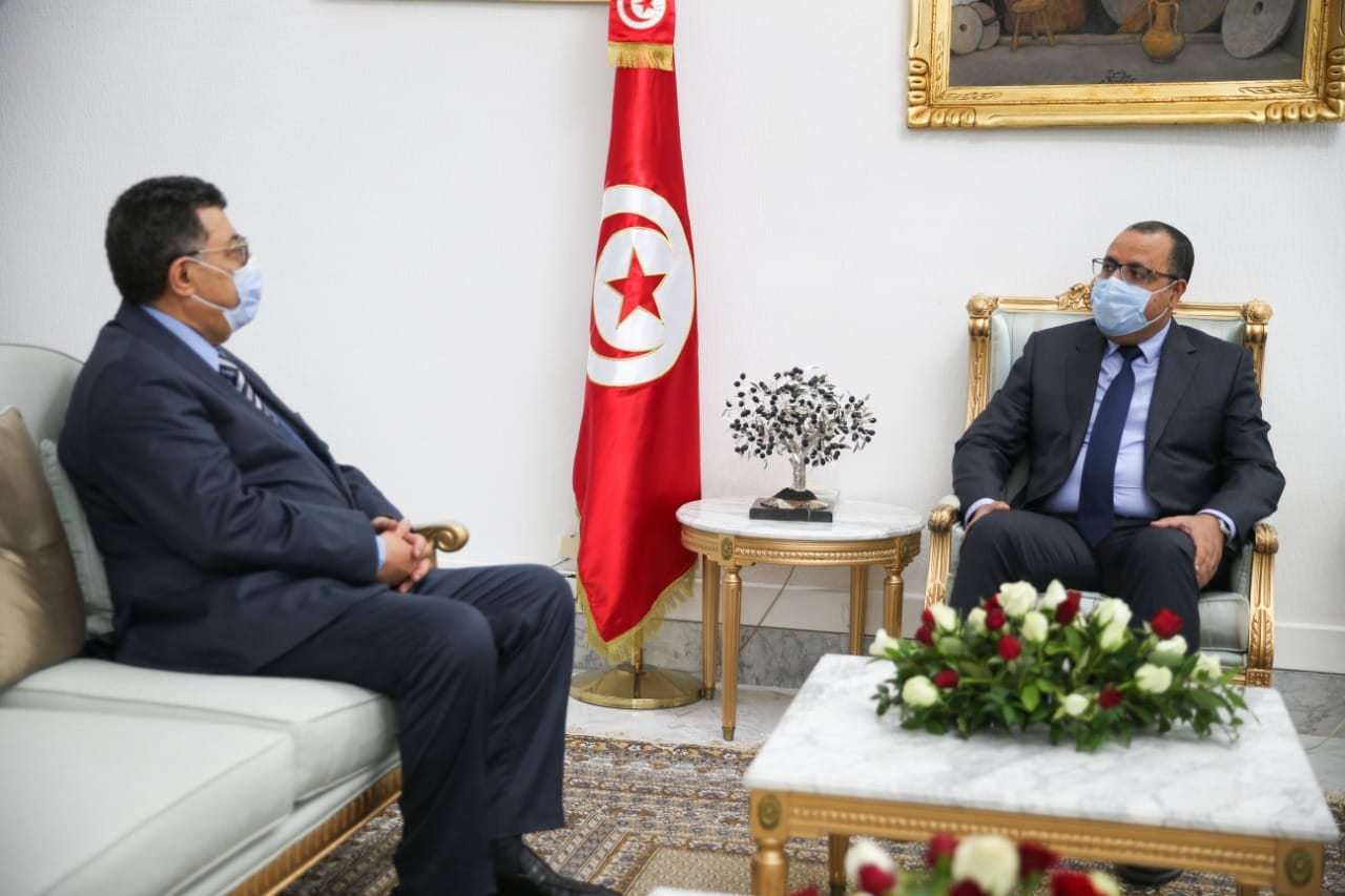 Prime Minister Hichem Mechichi recieves US Ambassador in Tunis, Donald Blome in the Government headquarters in Tunis, on 24 February 2021. (Tunisian government official Facebook page)