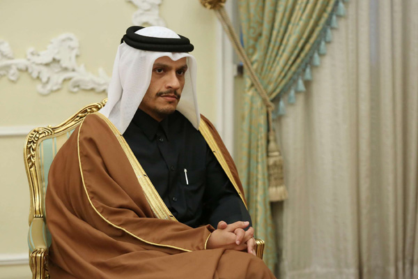 Qatari Deputy Prime Minister and Minister of Foreign Affairs Sheikh Mohammed bin Abdulrahman Al-Thani in Tehran, January 4, 2020. (AFP)