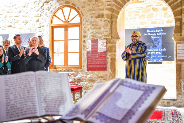 "Moroccan King Mohammed VI (C) during a visit to the ""Bayt Dakira"" (House of Memory) museum, in the Atlantic coastal city of Essaouira, last January. (Moroccan Royal Palace)"