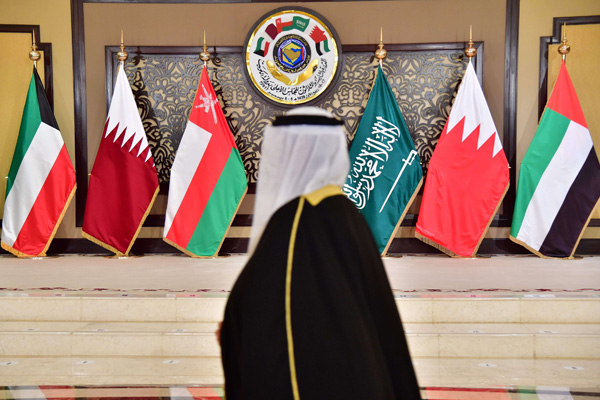 The flags of the countries attending the Gulf Cooperation Council (GCC) summit at Bayan palace in Kuwait City on December 5, 2017. (AFP)