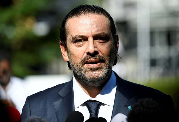 A file picture former Lebanese Prime Minister Saad Hariri speaking to the media in Leidschendam, Netherlands August 18, 2020. (REUTERS)