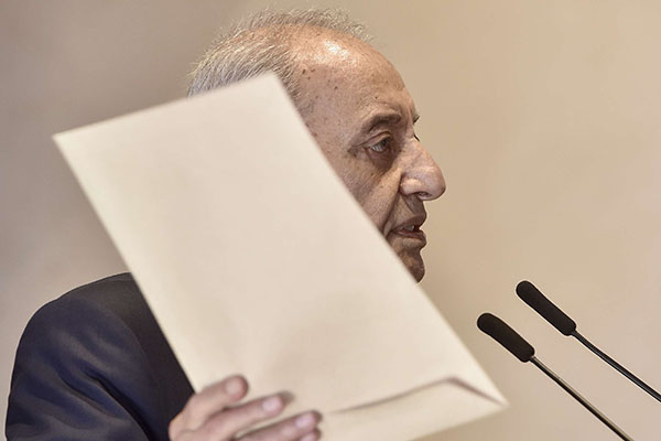 Lebanese Parliament Speaker Nabih Berri speaks during a press conference to announce a framework for indirect talks with Israel on the long-standing issue of maritime and land border demarcations between the two countries, On October 1, Beirut, Lebanon. (dpa)